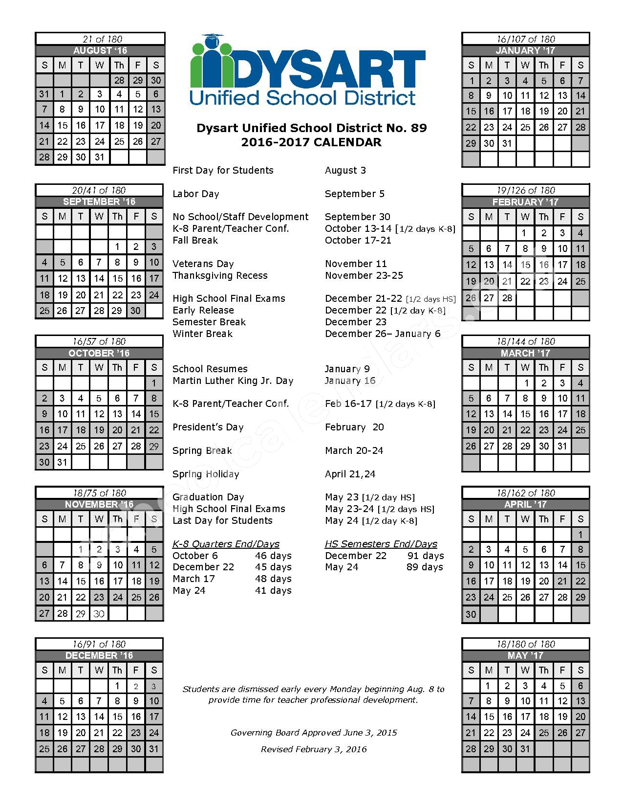 2017 - 2018 Calendar – Dysart Unified School District #89 – page 1