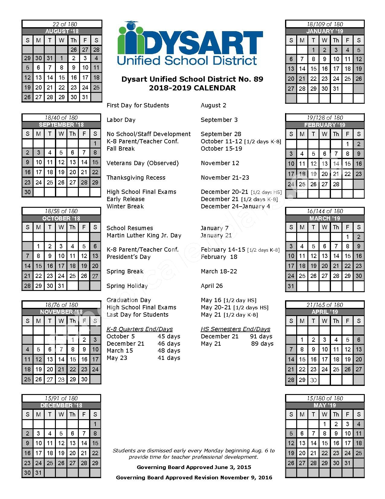 2018 - 2019 District Calendar – Cimarron Springs Elementary School – page 1
