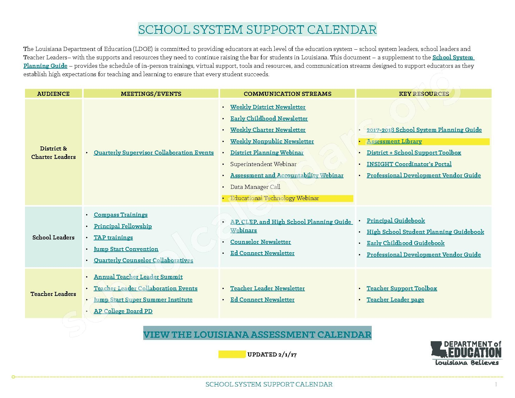 2017 - 2018 School System Support Calendar – Arthur F. Smith Middle Magnet School – page 1