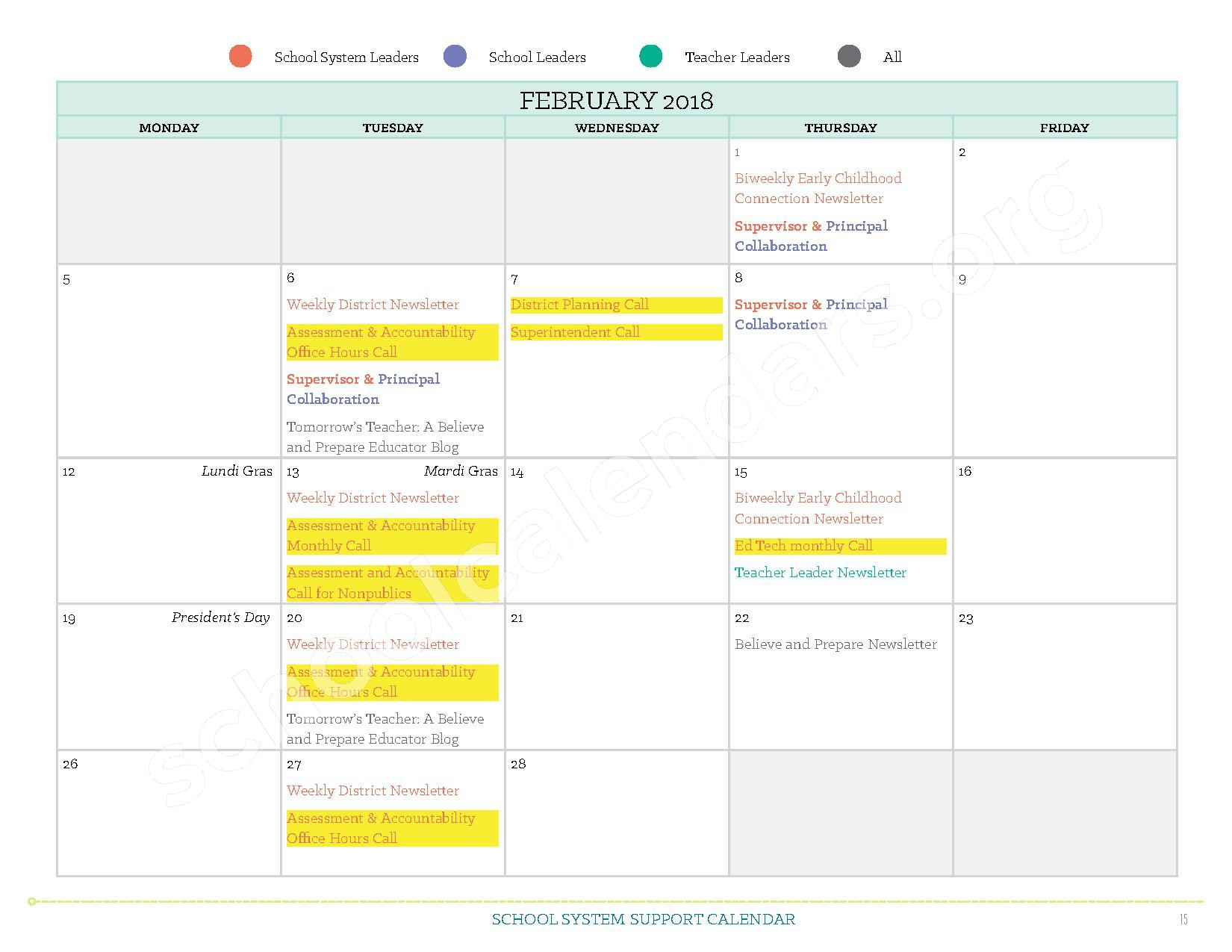 2017 - 2018 School System Support Calendar – Ruby-Wise Elementary School – page 15