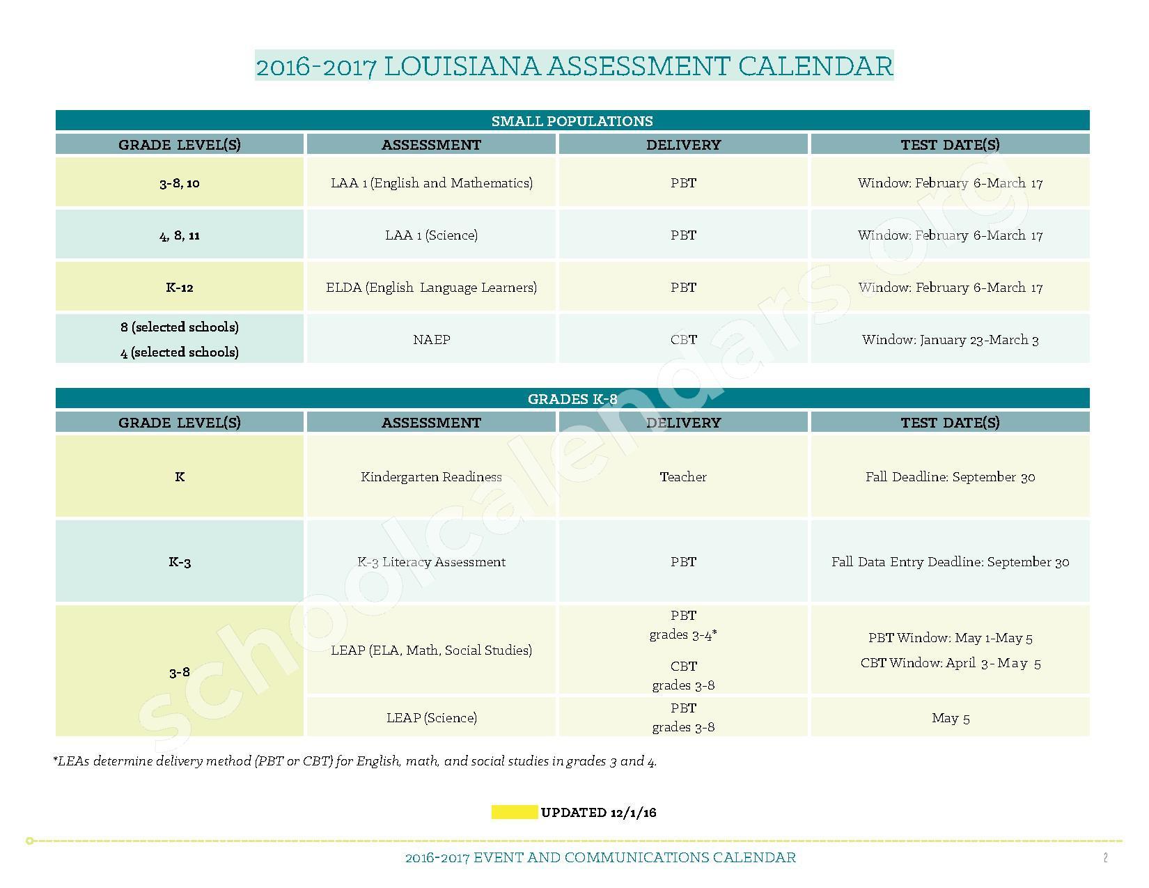 2016 - 2017 Louisiana Assessment Calendar – Alma Redwine Elementary New Vision Academy – page 1