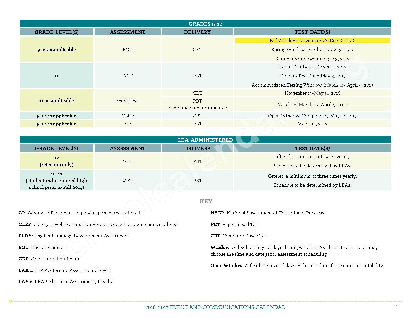 2016 - 2017 Louisiana Assessment Calendar – Alma Redwine Elementary New Vision Academy – page 2