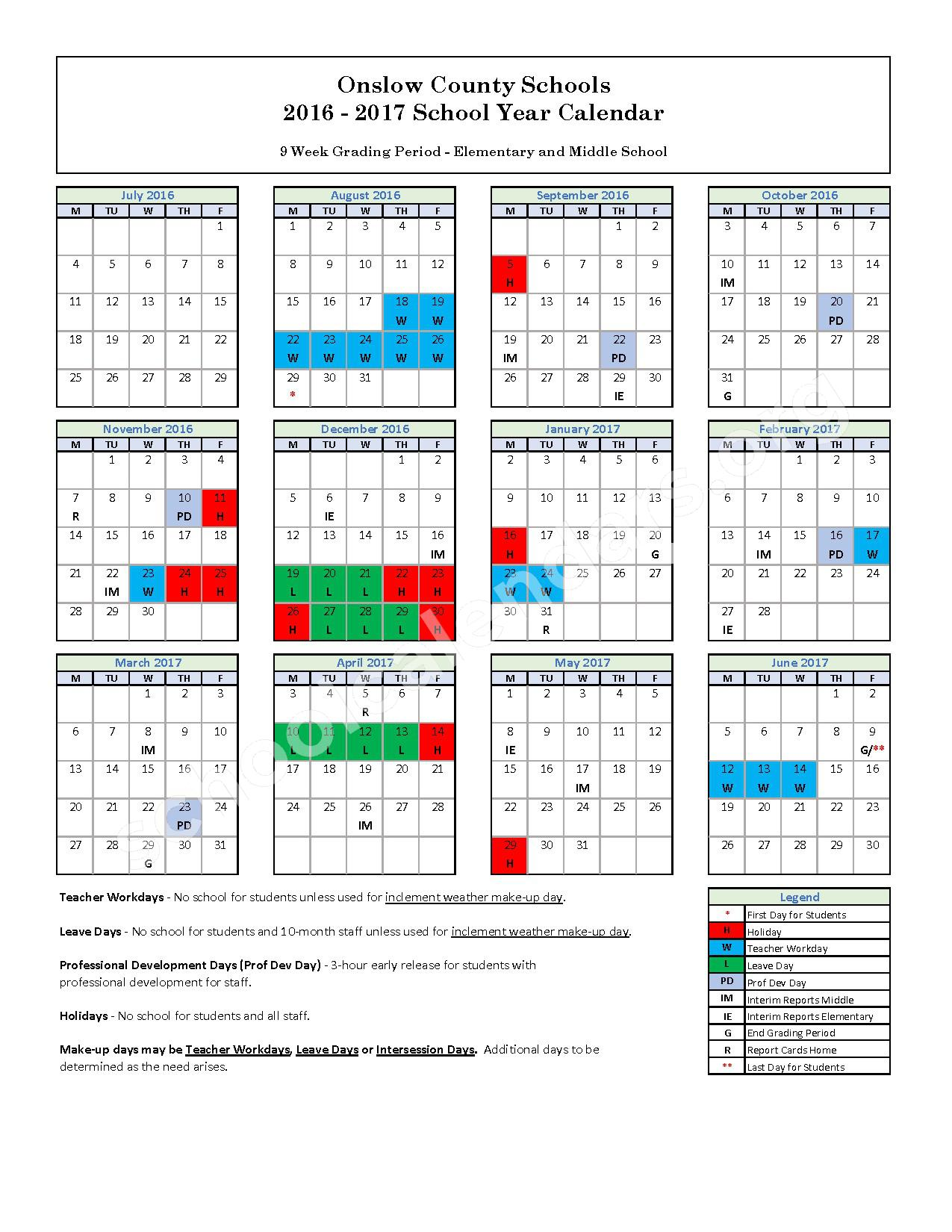 2016 - 2017 District Calendar – Southwest Elementary School – page 1