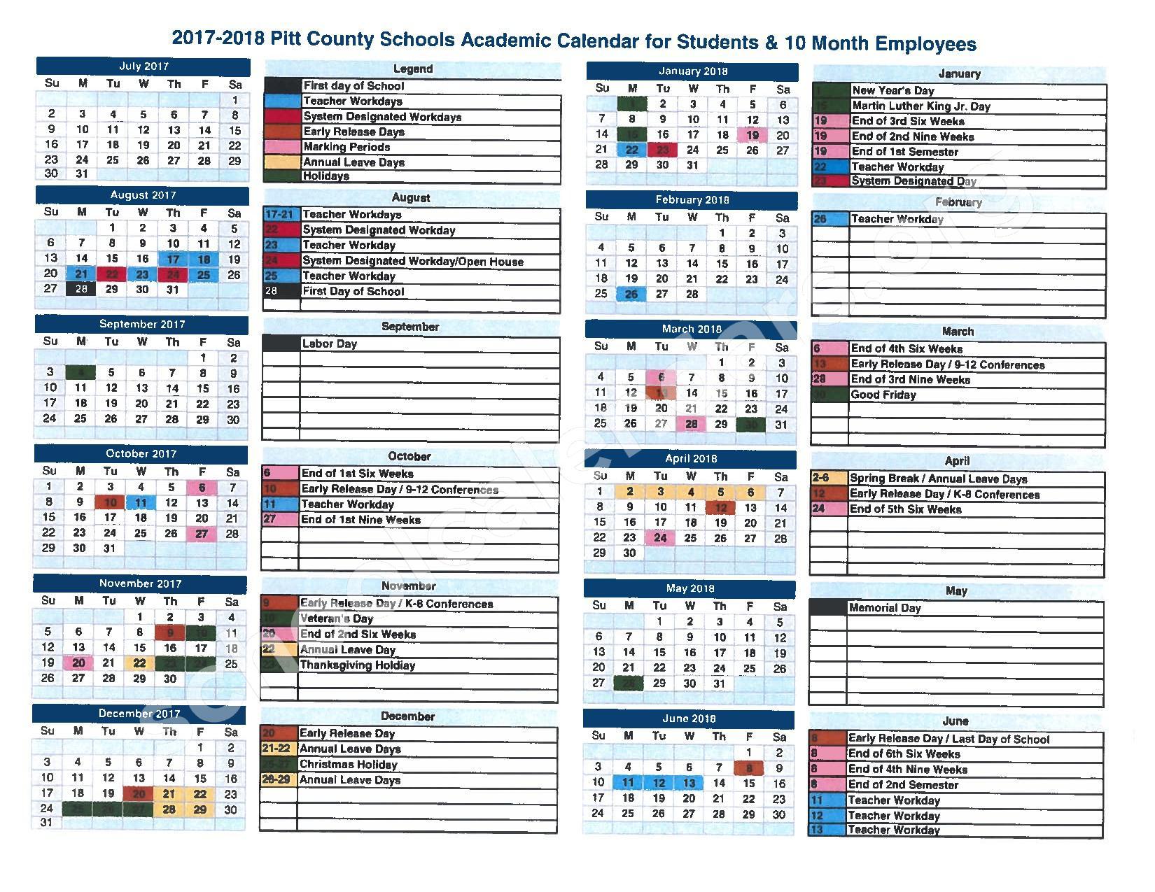 2017   2018 School Calendar | Pitt County Schools – Greenville, NC