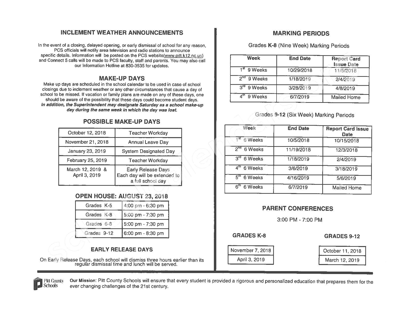 2018 - 2019 School Calendar – Creekside Elementary School – page 2