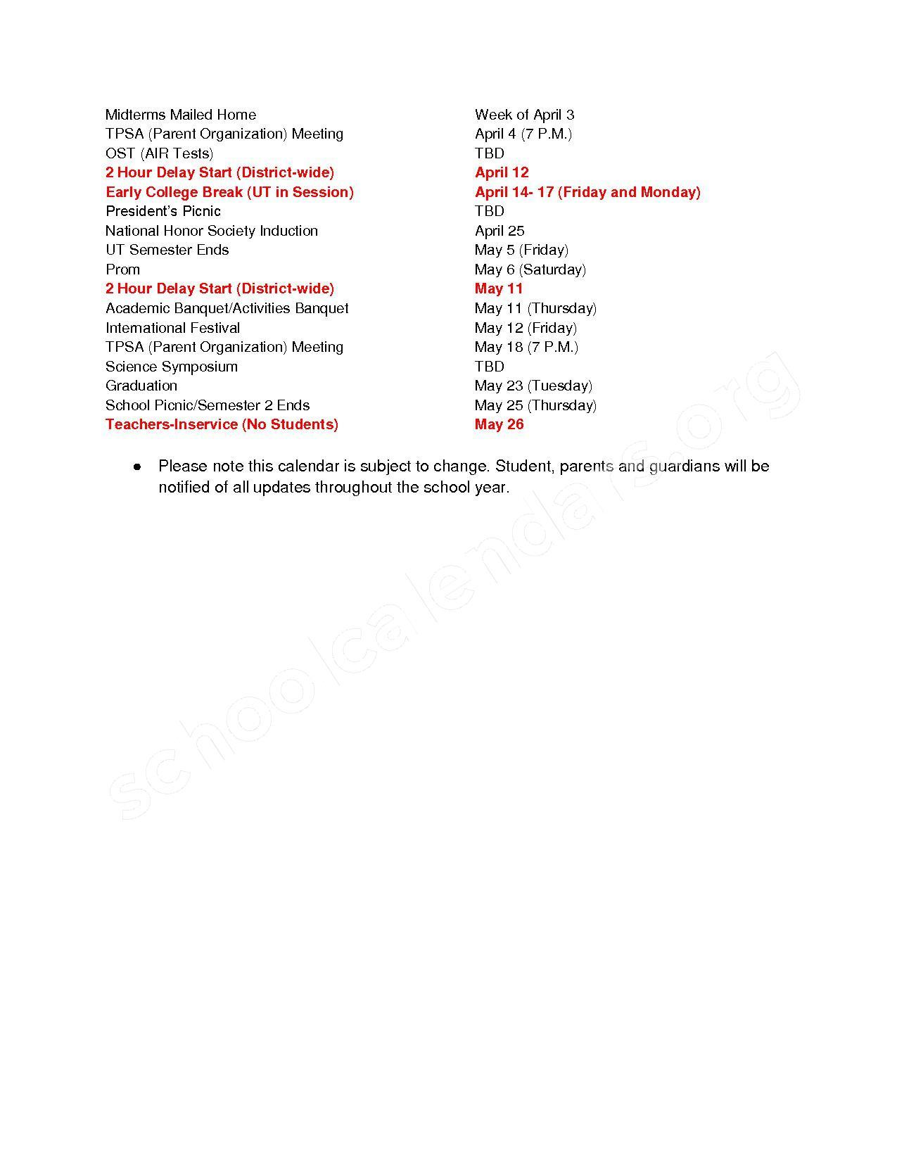 2016 - 2017 school calendar. – Toledo Public Schools – page 2