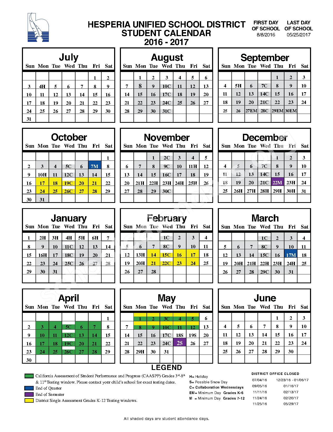 2016 - 2017 Student Calendar – Hesperia Unified School District – page 1