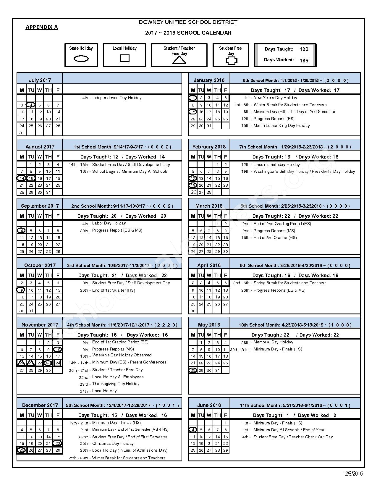 2017 - 2018 School Calendar – Downey Unified School District – page 1