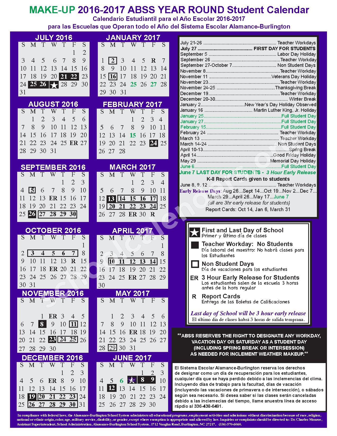 2016 - 2017 Year Round Calendar (Updated) – Alamance-Burlington School System – page 1