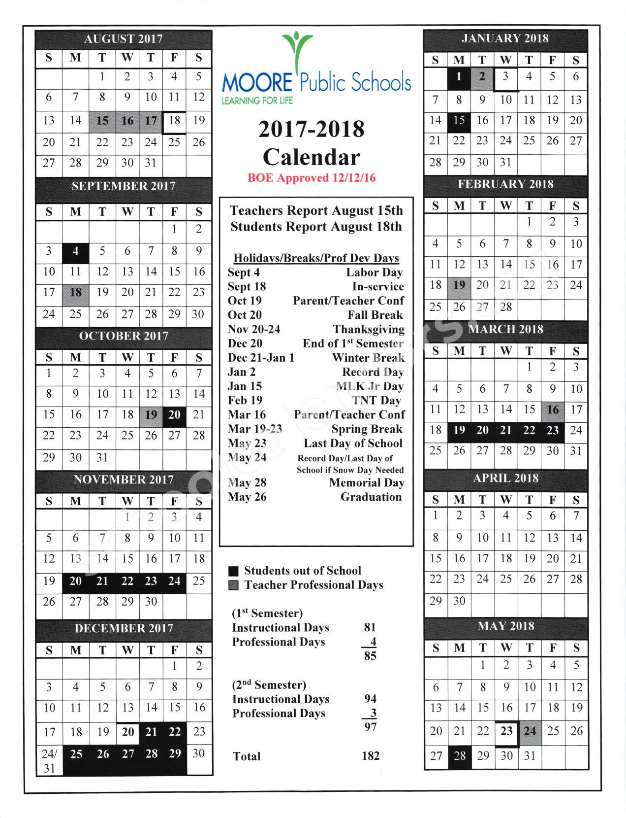2017 - 2018 School Calendar – Red Oak Elementary School – page 1