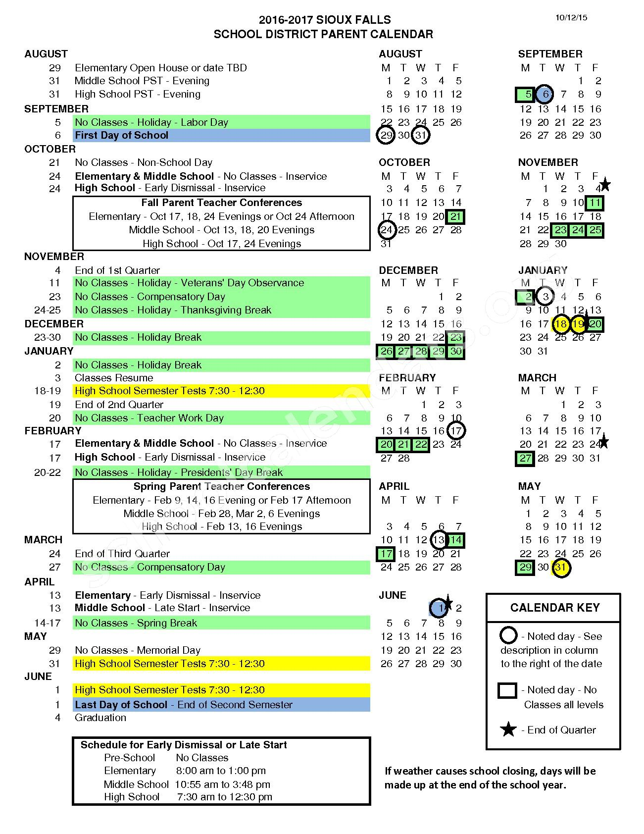 2016 - 2017 District Calendar – Sioux Falls School District – page 1
