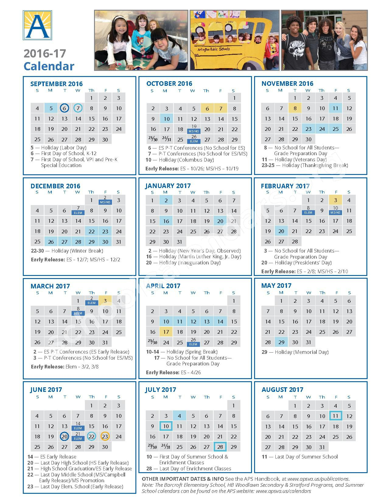 2016 - 2017 School Calendar / Calendario Escolar – Ashlawn Elementary School – page 1