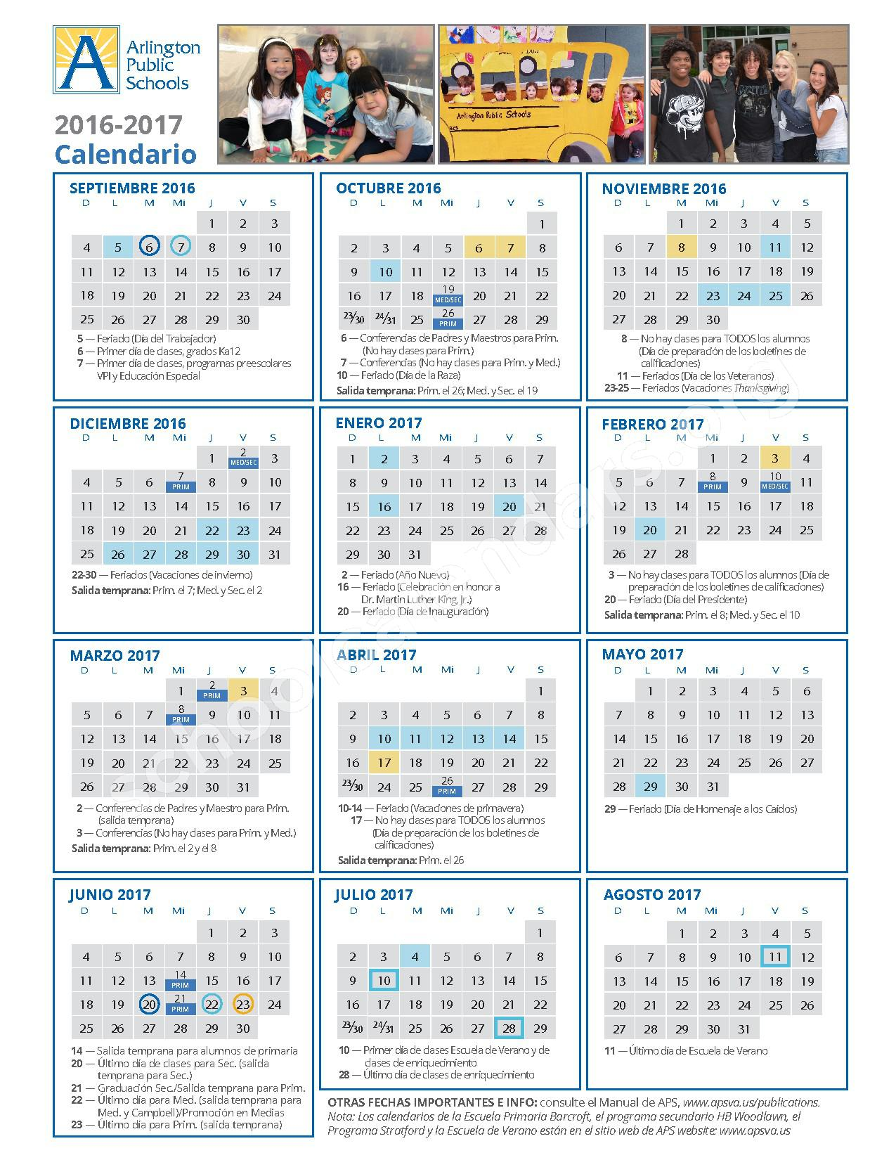 2016 - 2017 School Calendar / Calendario Escolar – Jefferson Middle School – page 2