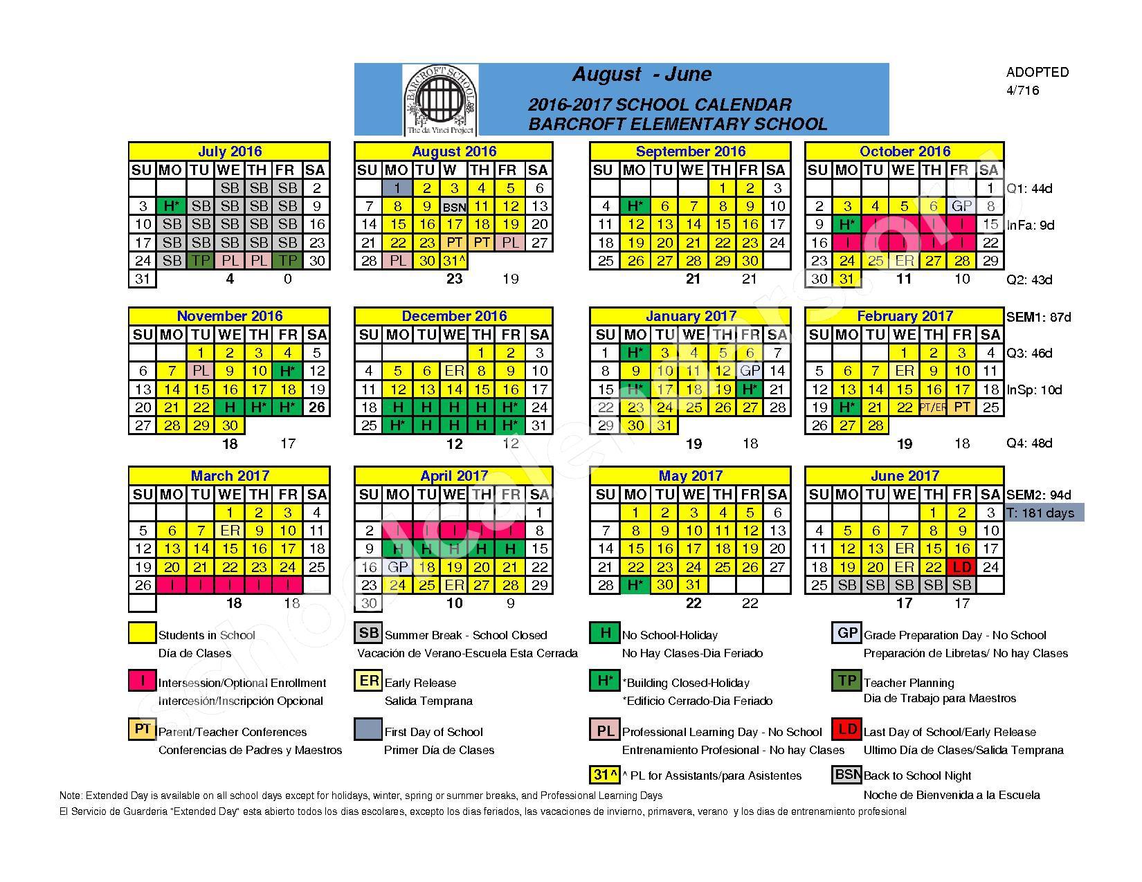 2016 - 2017 Barcroft Calendar – Barcroft Elementary School – page 1