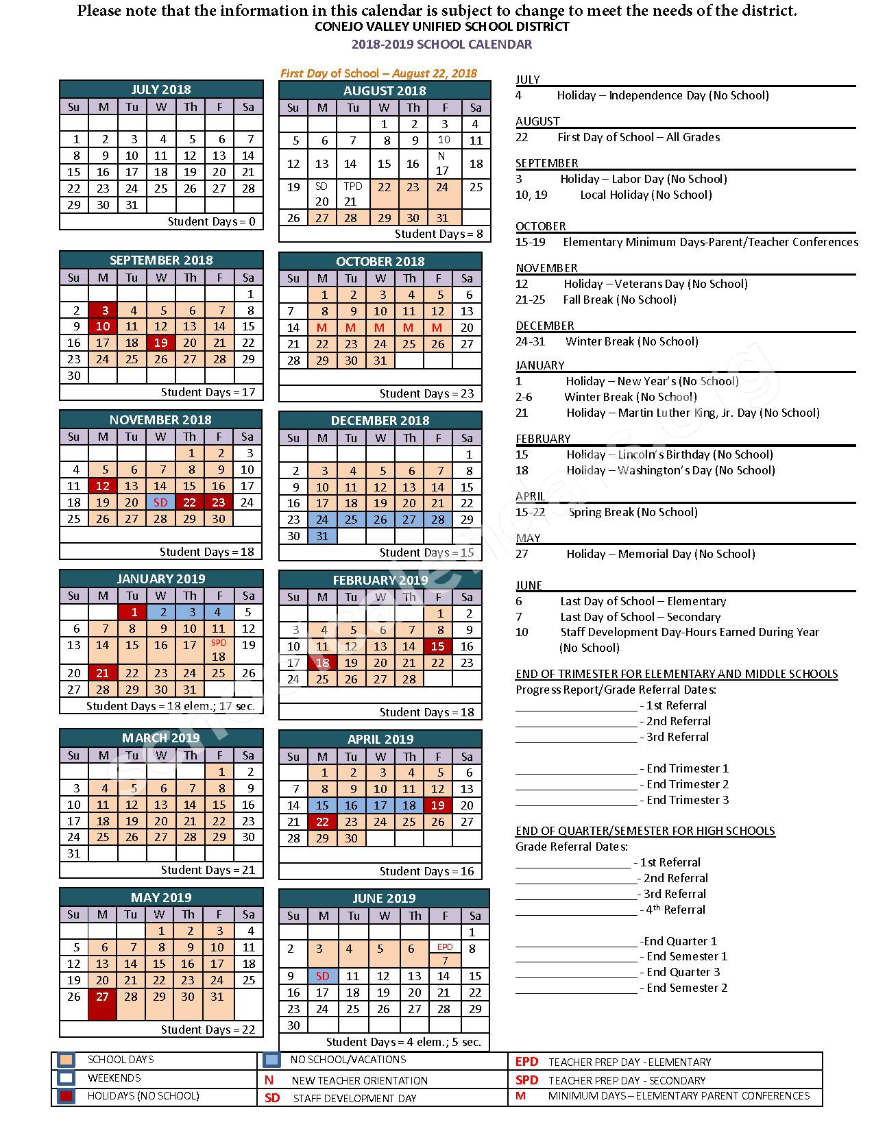 2018 - 2019 School Calendar – Conejo Valley Unified School District – page 1