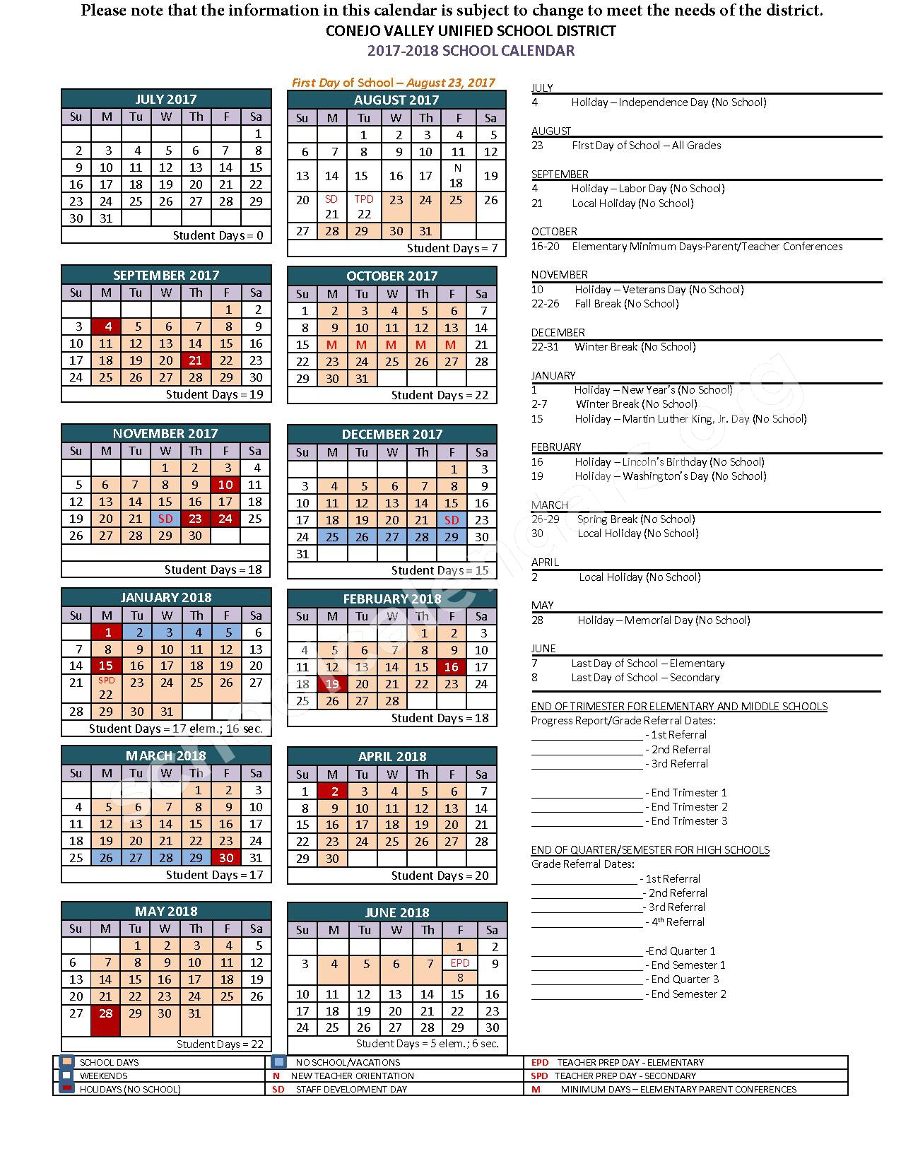 2017 - 2018 School Calendar – Conejo Valley Unified School District – page 1