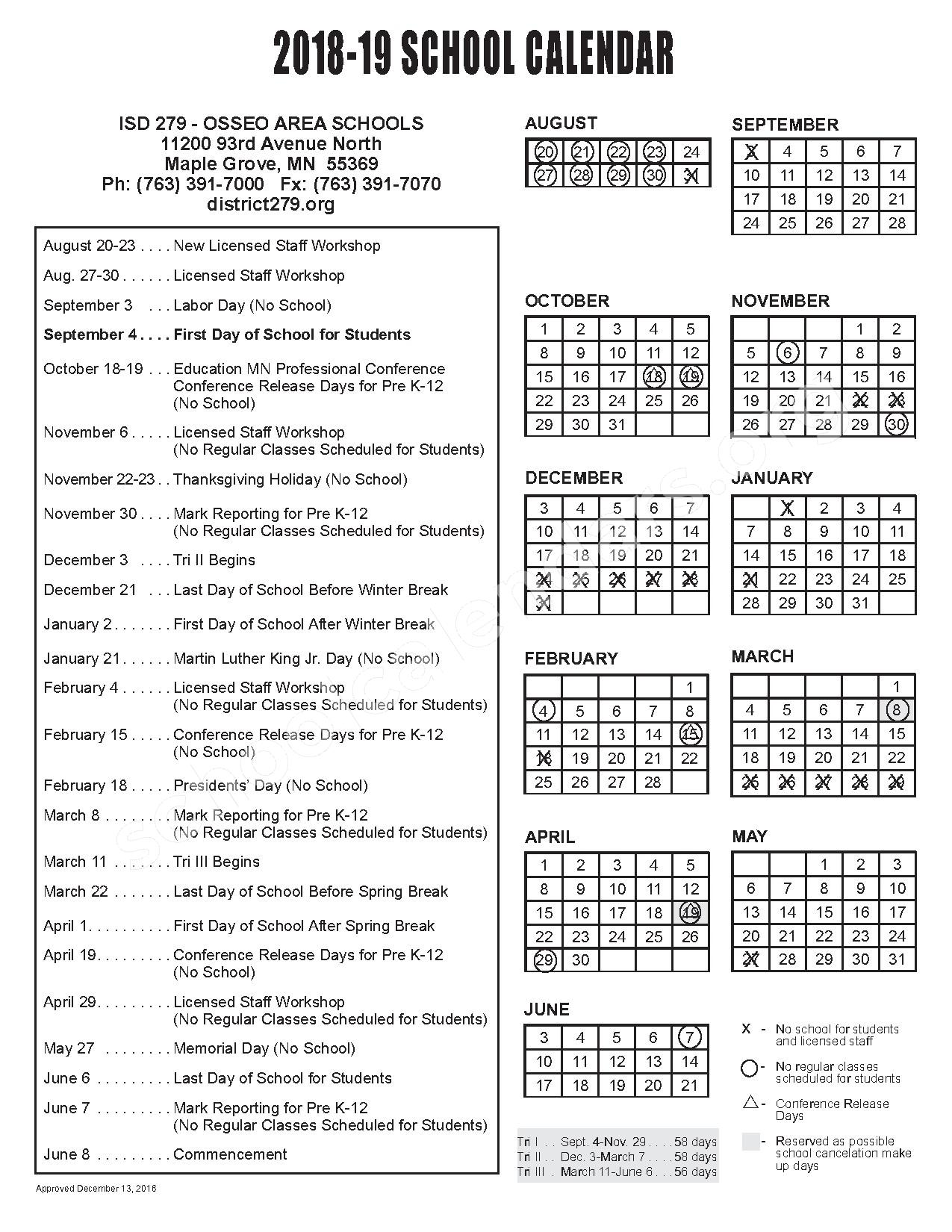 2018 - 2019 School Calendar – Osseo Senior High School – page 1