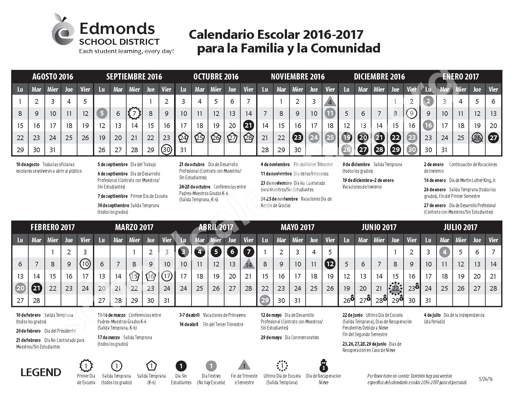 2016 - 2017 Calendario Escolar para la Familia y la Comunidad – Scriber Lake High School – page 1