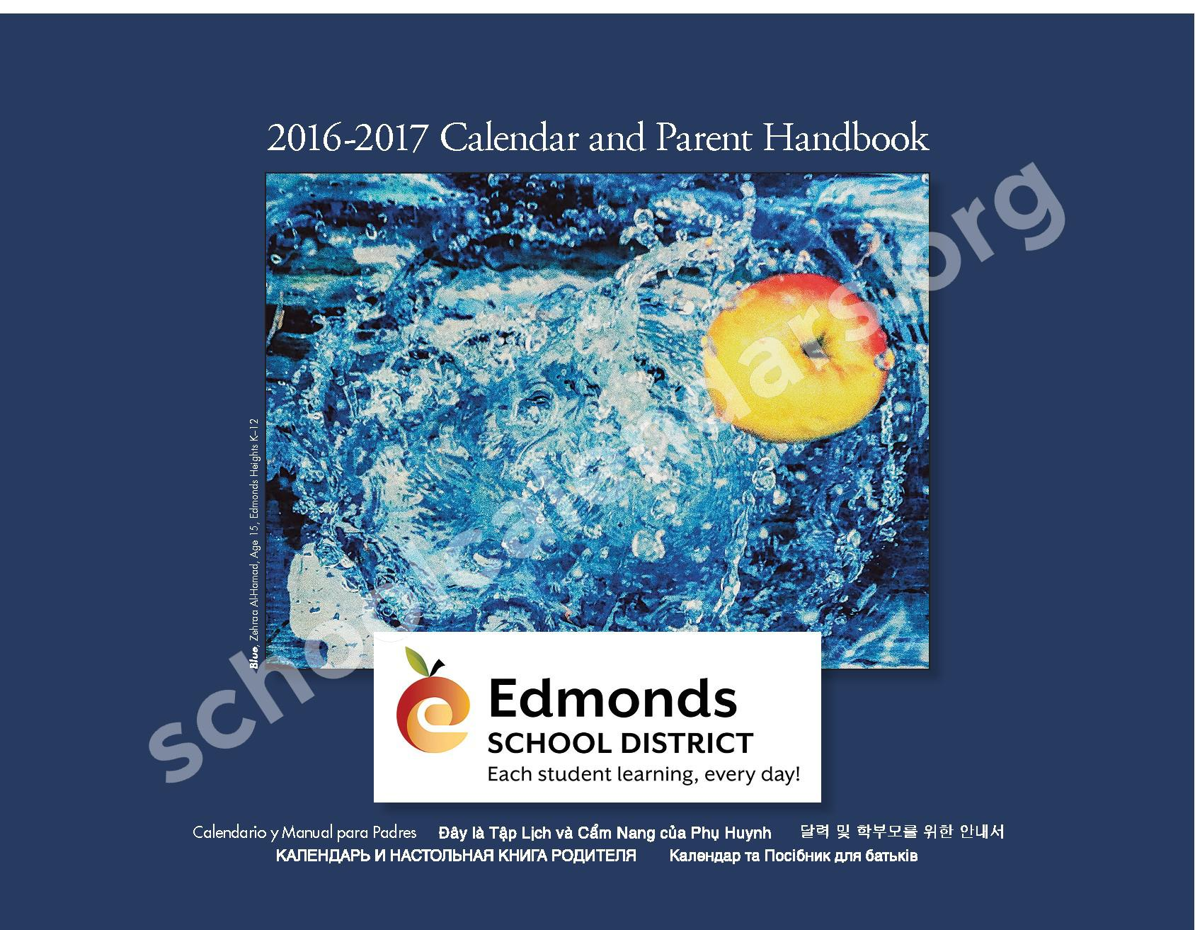 2016 - 2017 ESD Calendar and Parent Handbook – College Place Elementary School – page 1