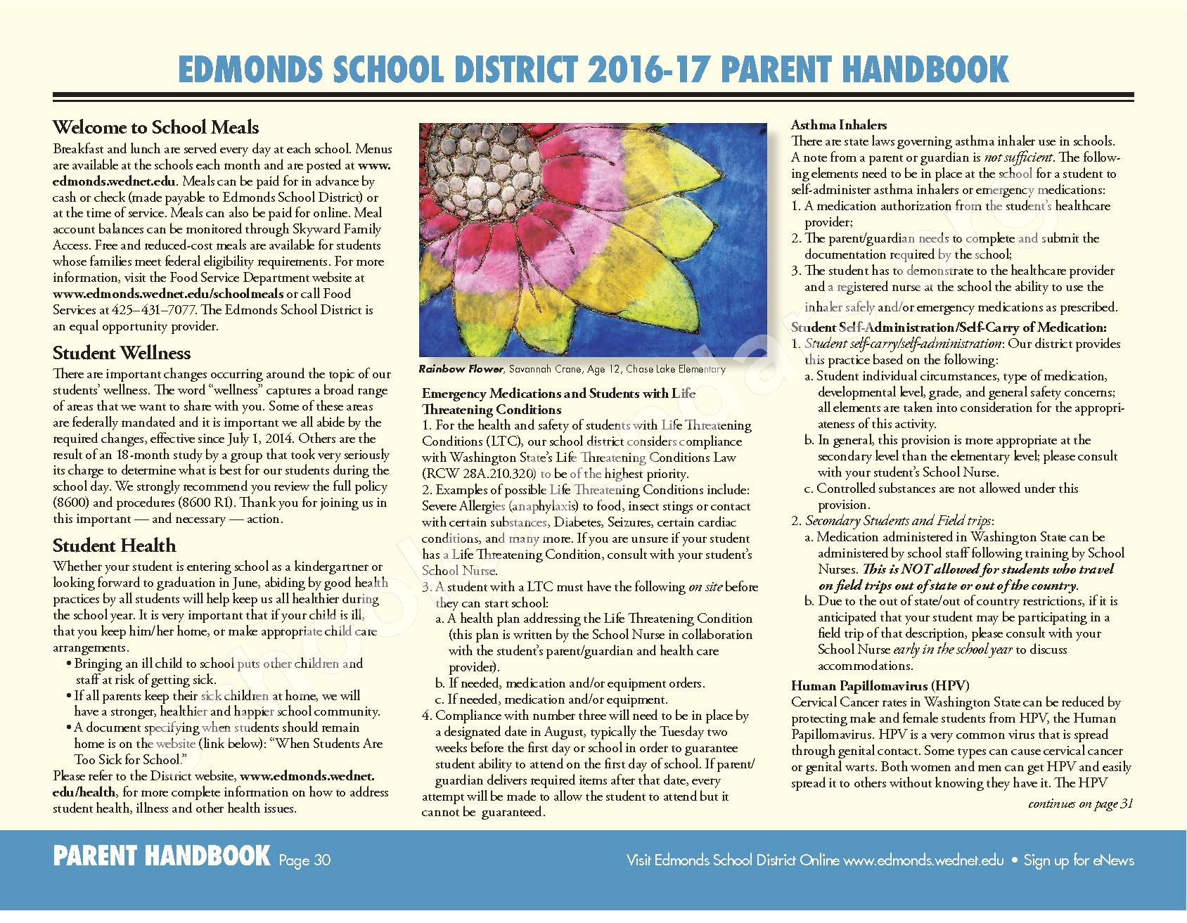2016 - 2017 ESD Calendar and Parent Handbook – College Place Elementary School – page 30