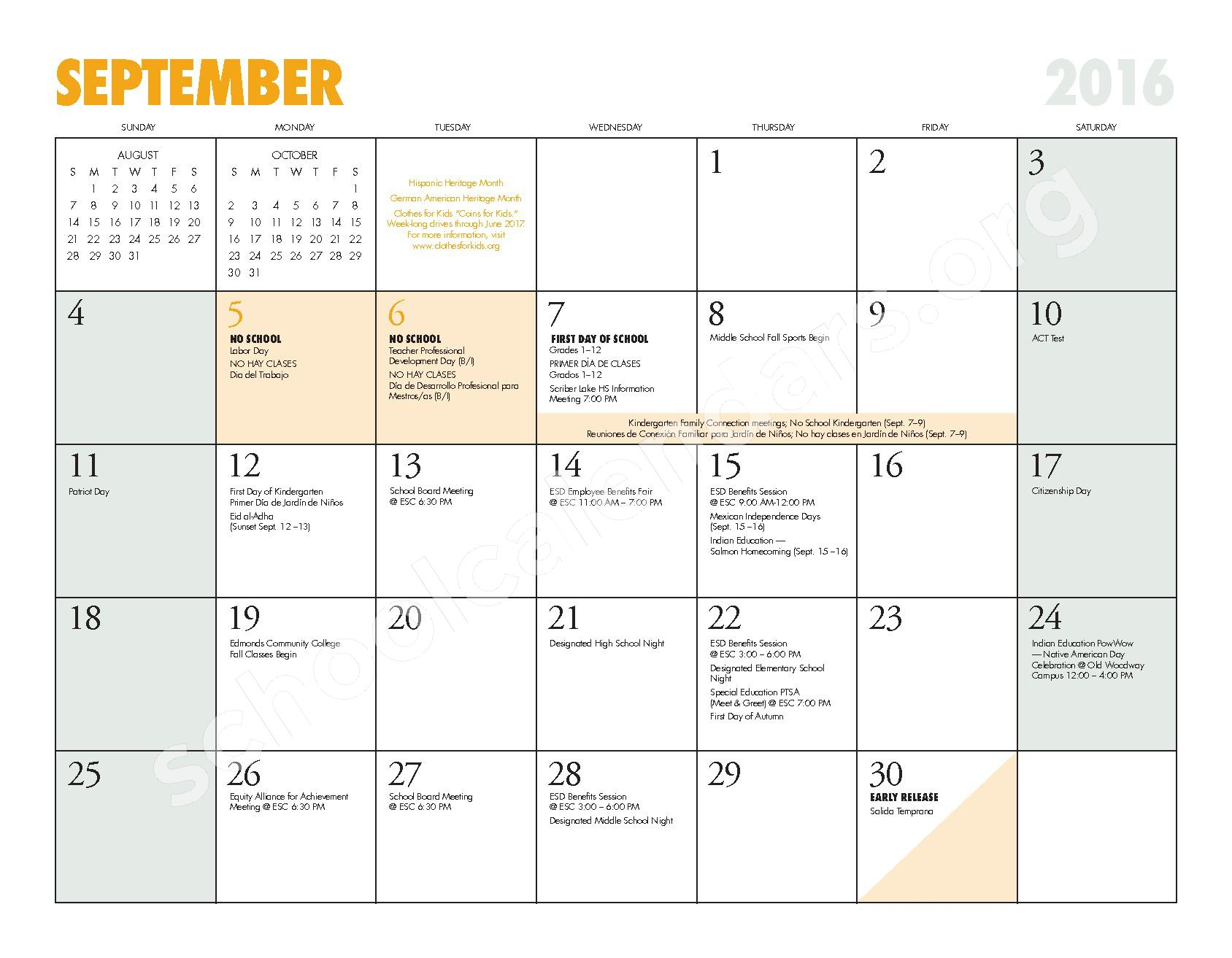 2016 - 2017 ESD Calendar and Parent Handbook – College Place Elementary School – page 5