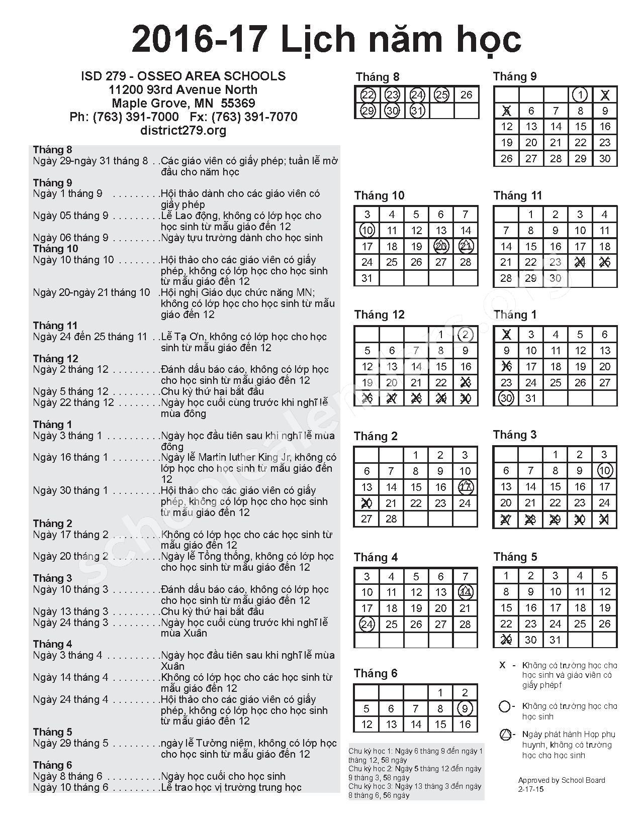 2016 - 2017 Vietnamese Calendar – Edinbrook Elementary School – page 1