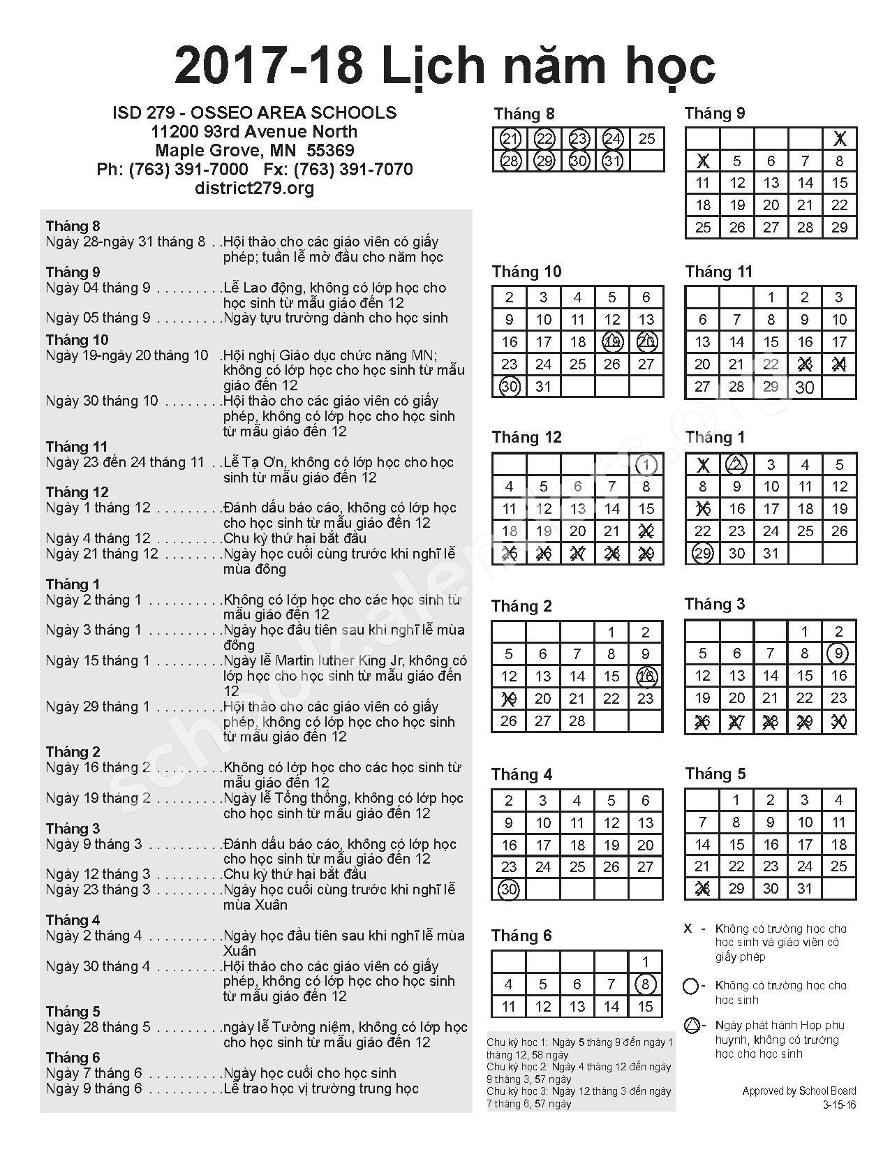2017 - 2018 Vietnamese Calendar – Zanewood Community School – page 1