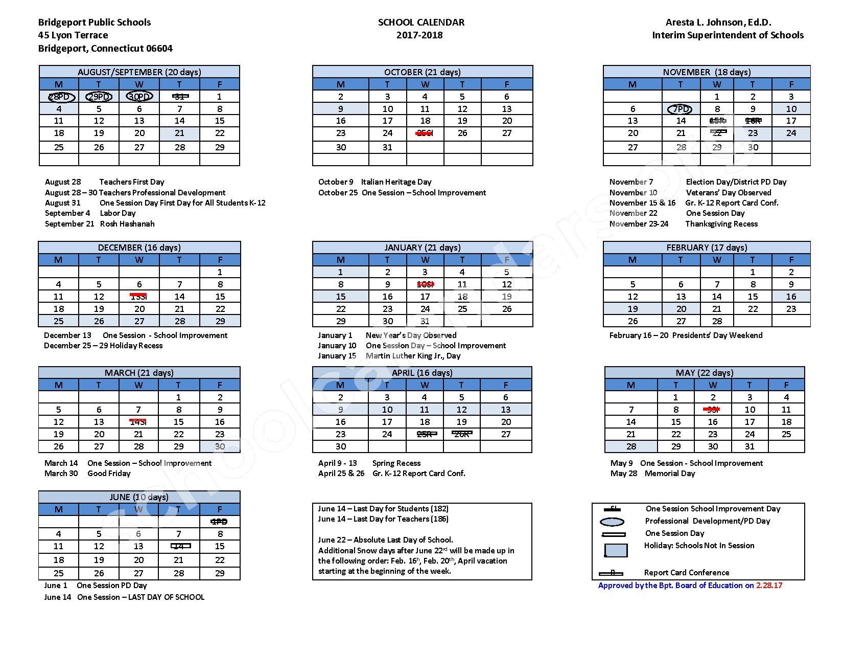 2017 - 2018 School Calendar – Bridgeport School District – page 1