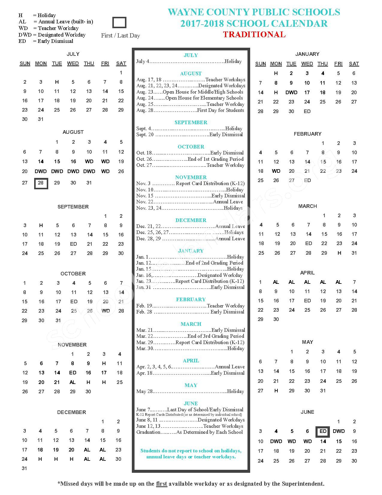 2017 - 2018 Traditional Academic Calendar – Mount Olive Middle School – page 1