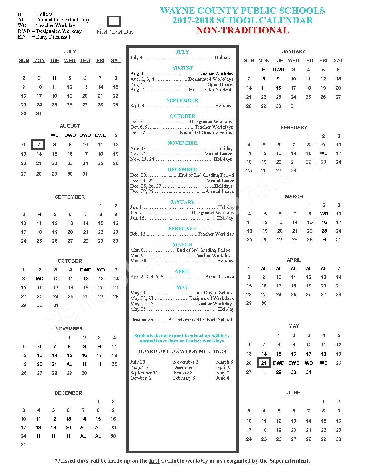 2017 - 2018 Non-Traditional Academic Calendar – Wayne County Public Schools – page 1