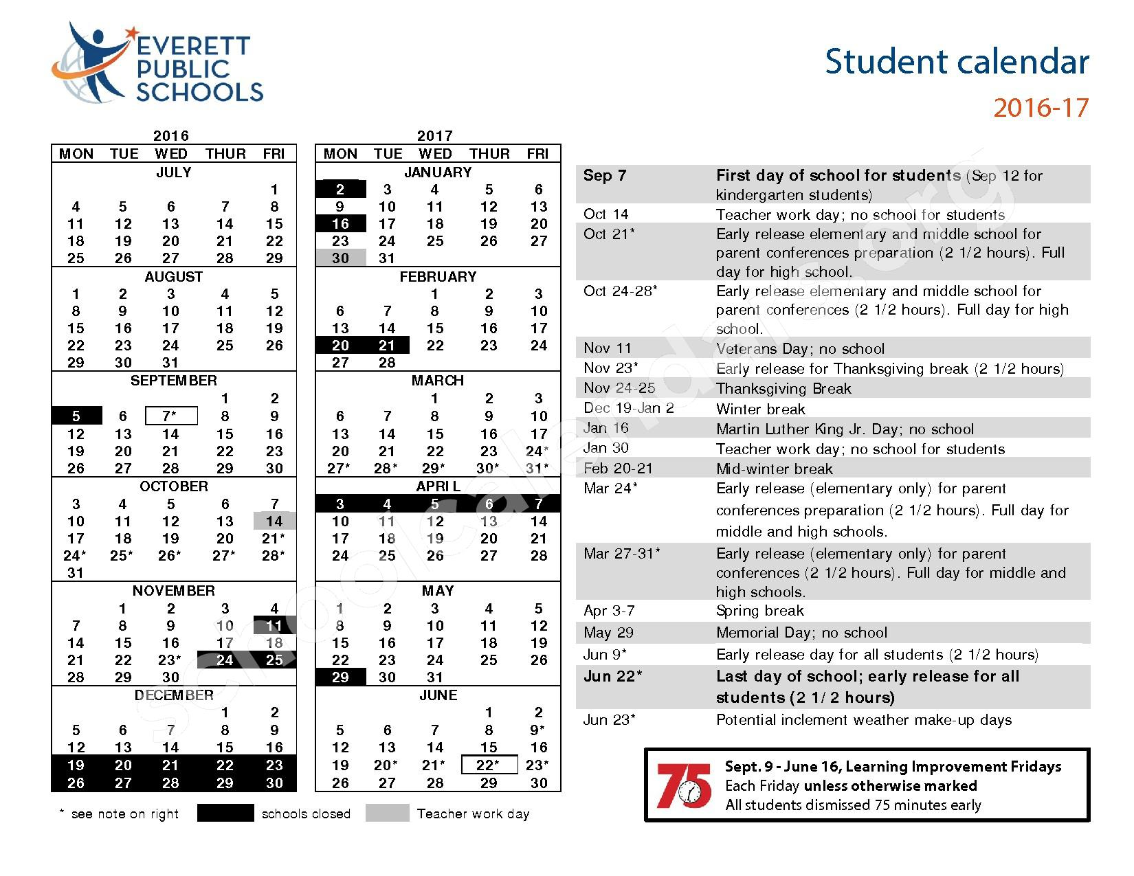 2016 - 2017 School Calendar – Everett School District – page 1