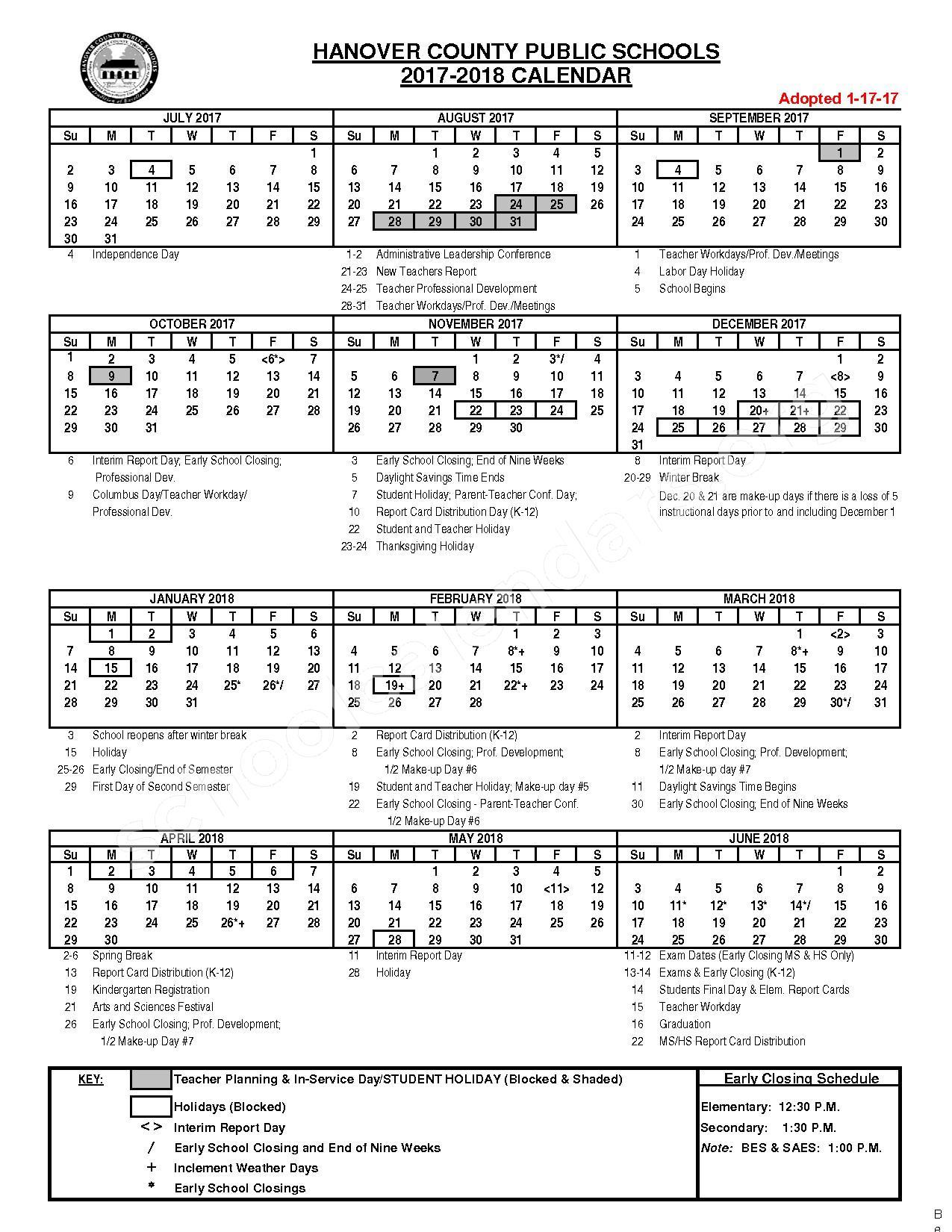2017 - 2018 HCPS Calendar – Washington-Henry Elementary School – page 1