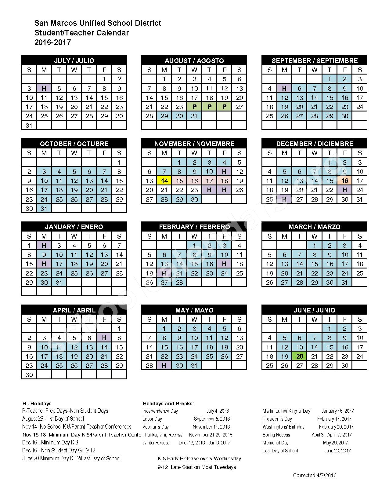 2016 - 2017 Student Calendar – San Marcos Unified School District – page 1