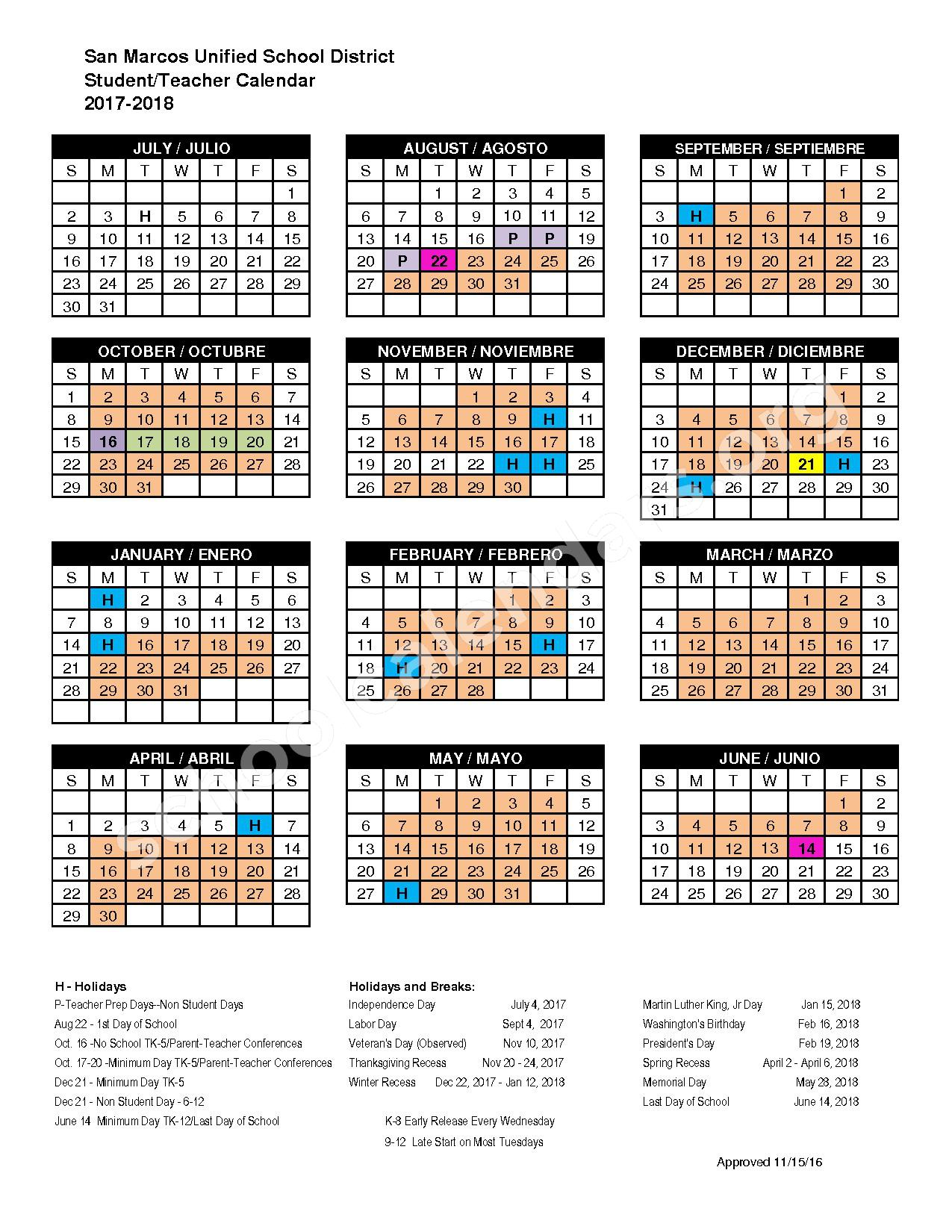 2017 - 2018 Academic Calendar – San Marcos Unified School District – page 1