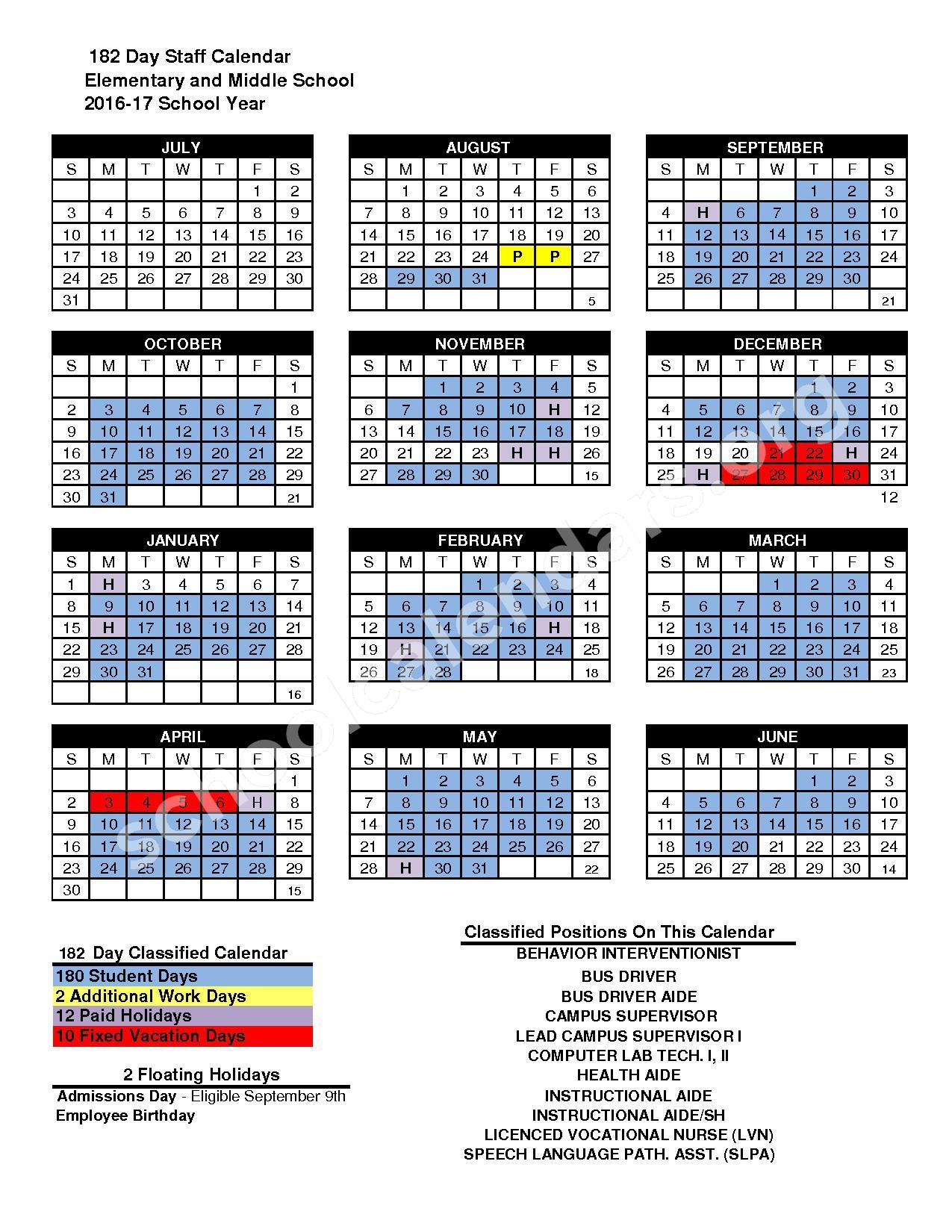 2016 - 2017 Modle School District Calendar – San Marcos Unified School District – page 1