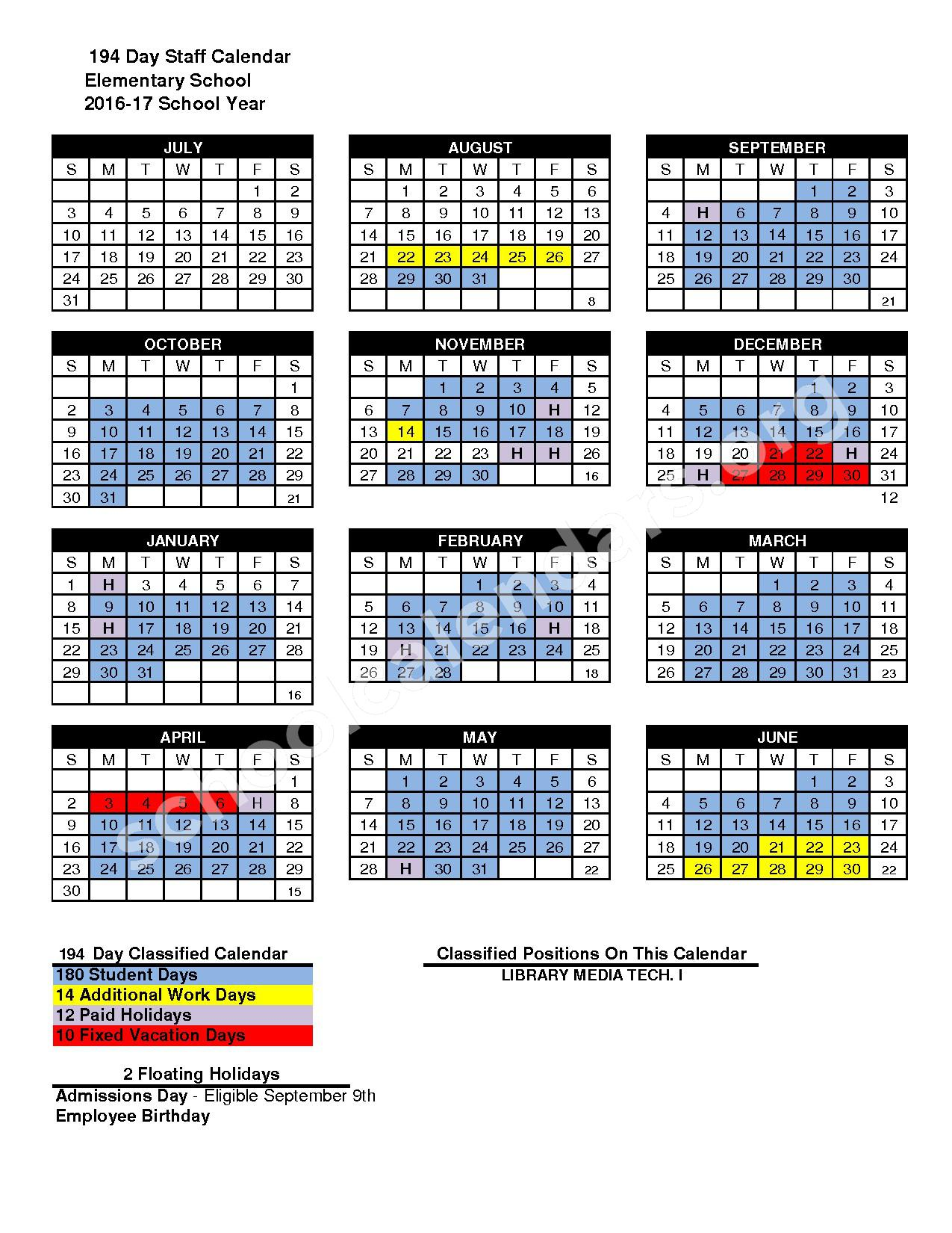 2016 - 2017 District Calendar – San Marcos Unified School District – page 1