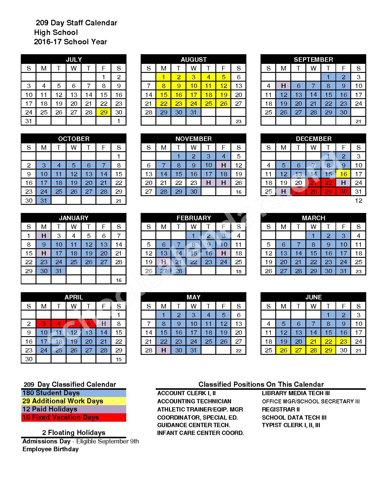 2016 - 2017 High School Staff District Calendar – San Marcos Unified School District – page 1