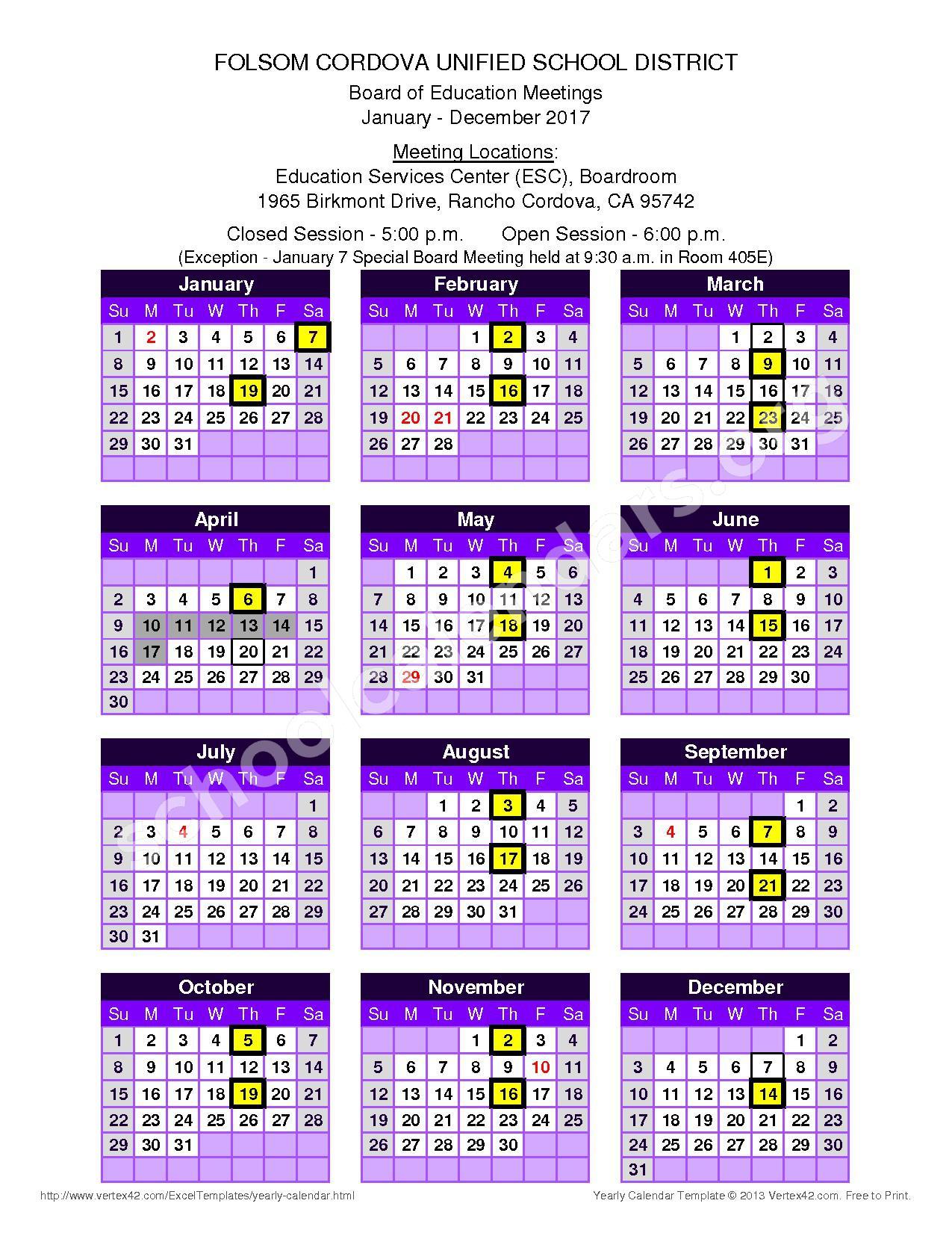 2017 Board Meeting Dates – Sandra J. Gallardo Elementary School – page 1
