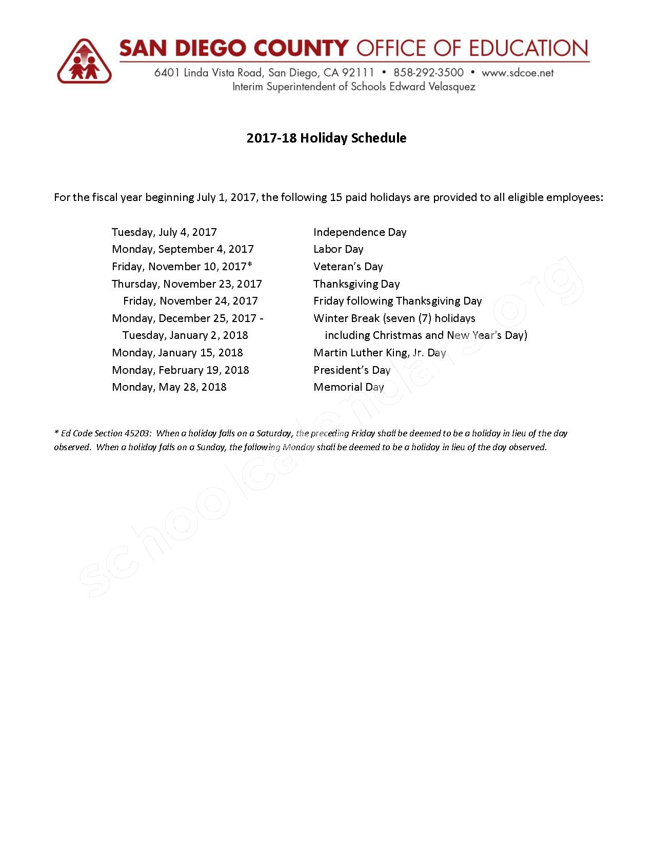 2017 - 2018 Holiday Calendar – San Marcos Unified School District – page 1