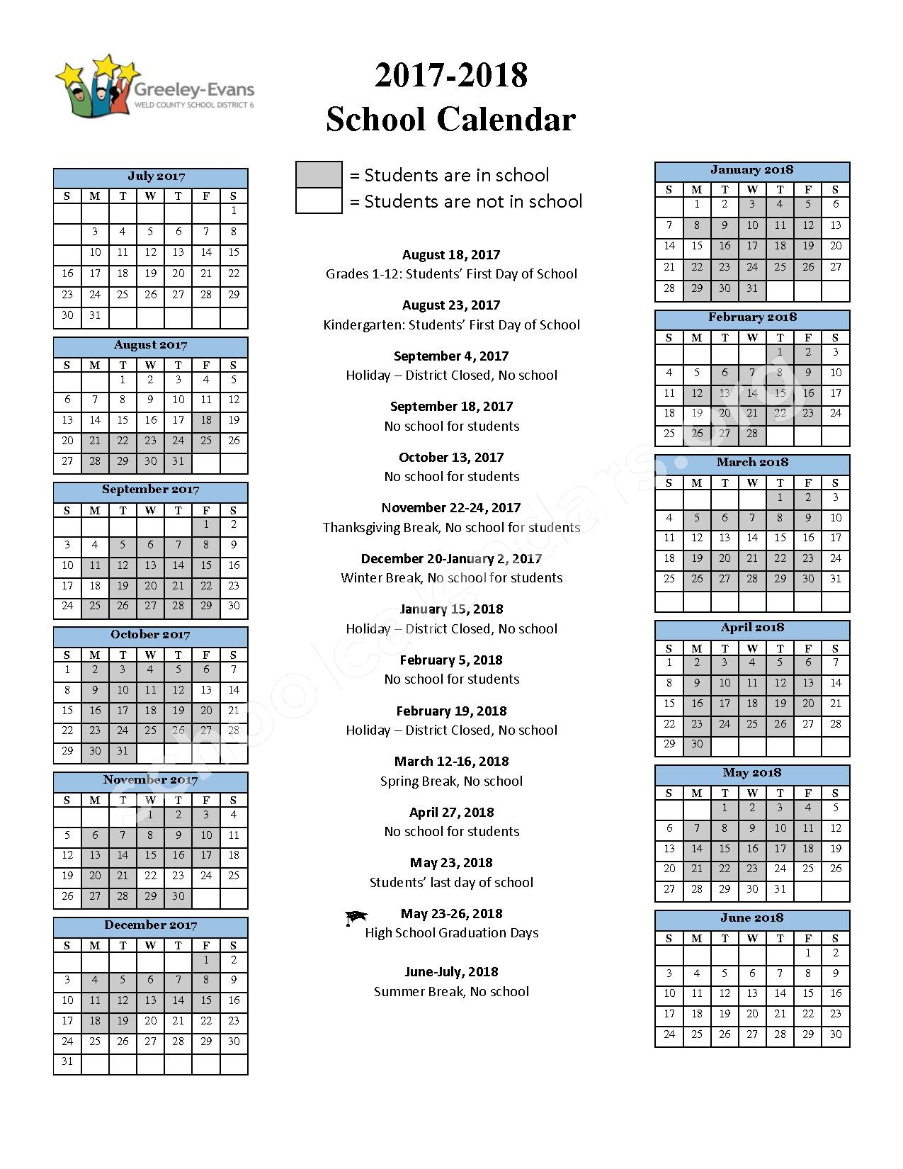 2017 - 2018 District Calendar – Greeley-Evans School District 6 – page 1