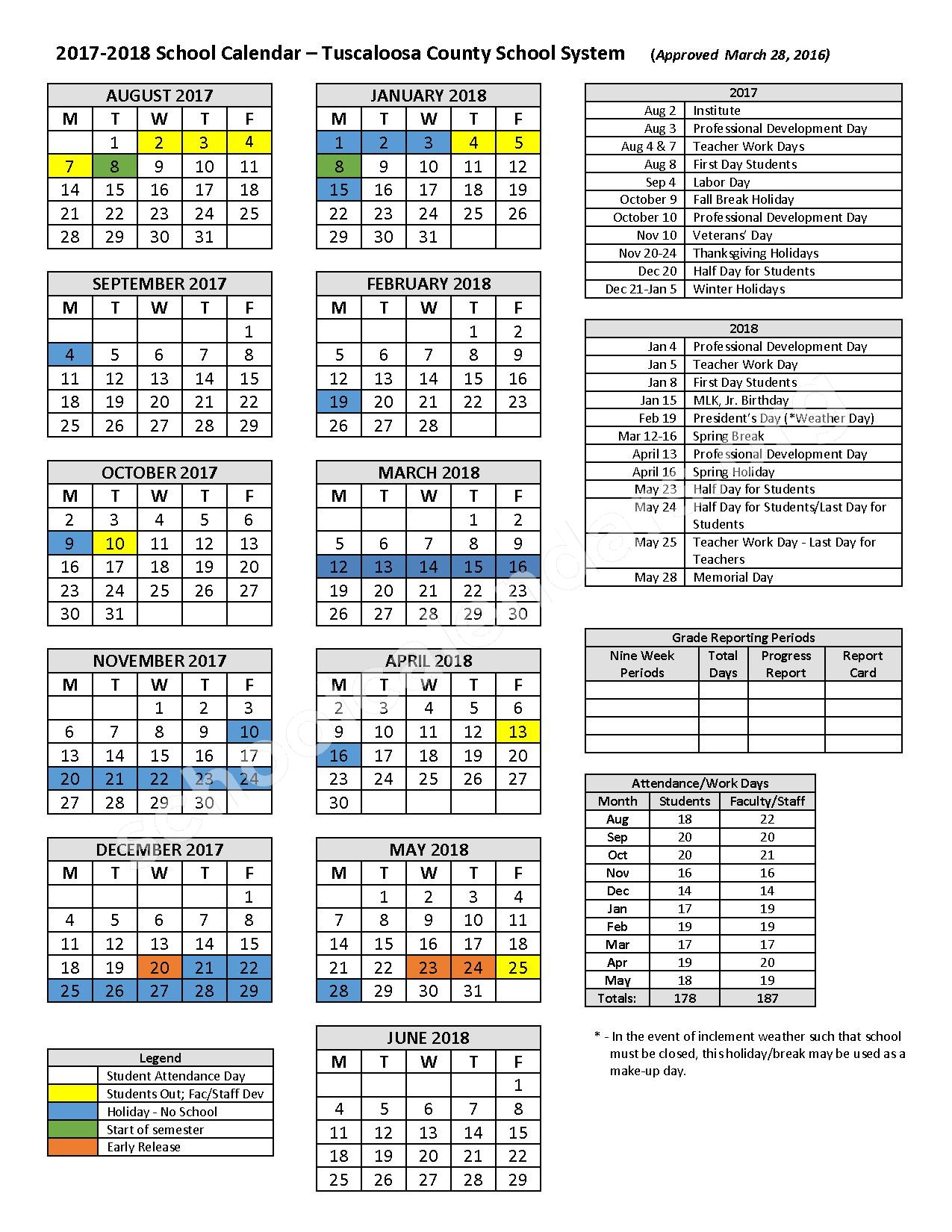 2017 - 2018 School Calendar – Davis-Emerson Middle School – page 1