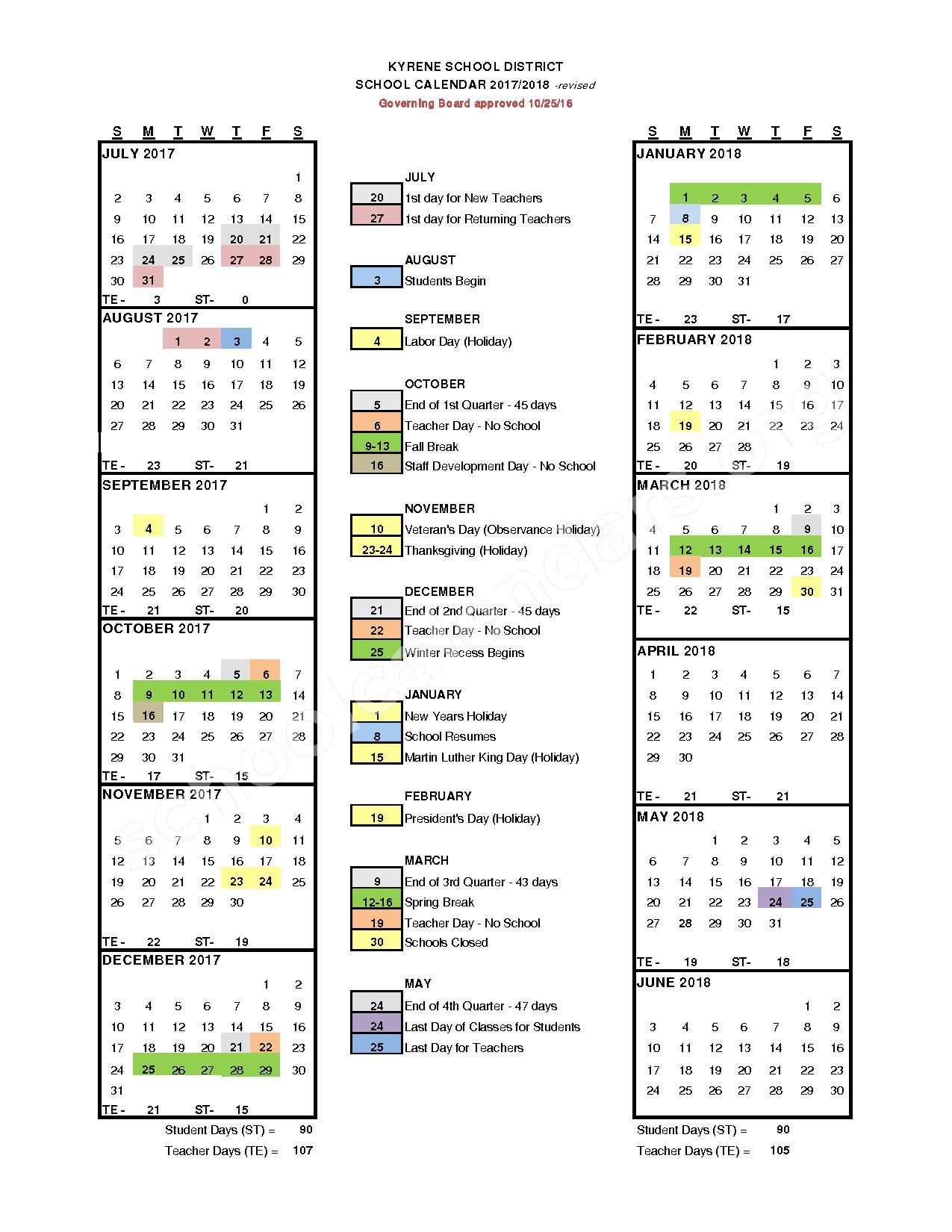 2017 - 2018 School Calendar – Kyrene De Los Ninos School – page 1