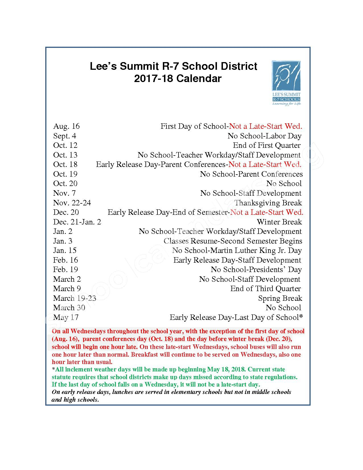 2017 - 2018 School Calendar – Lee's Summit R-VII School District – page 1