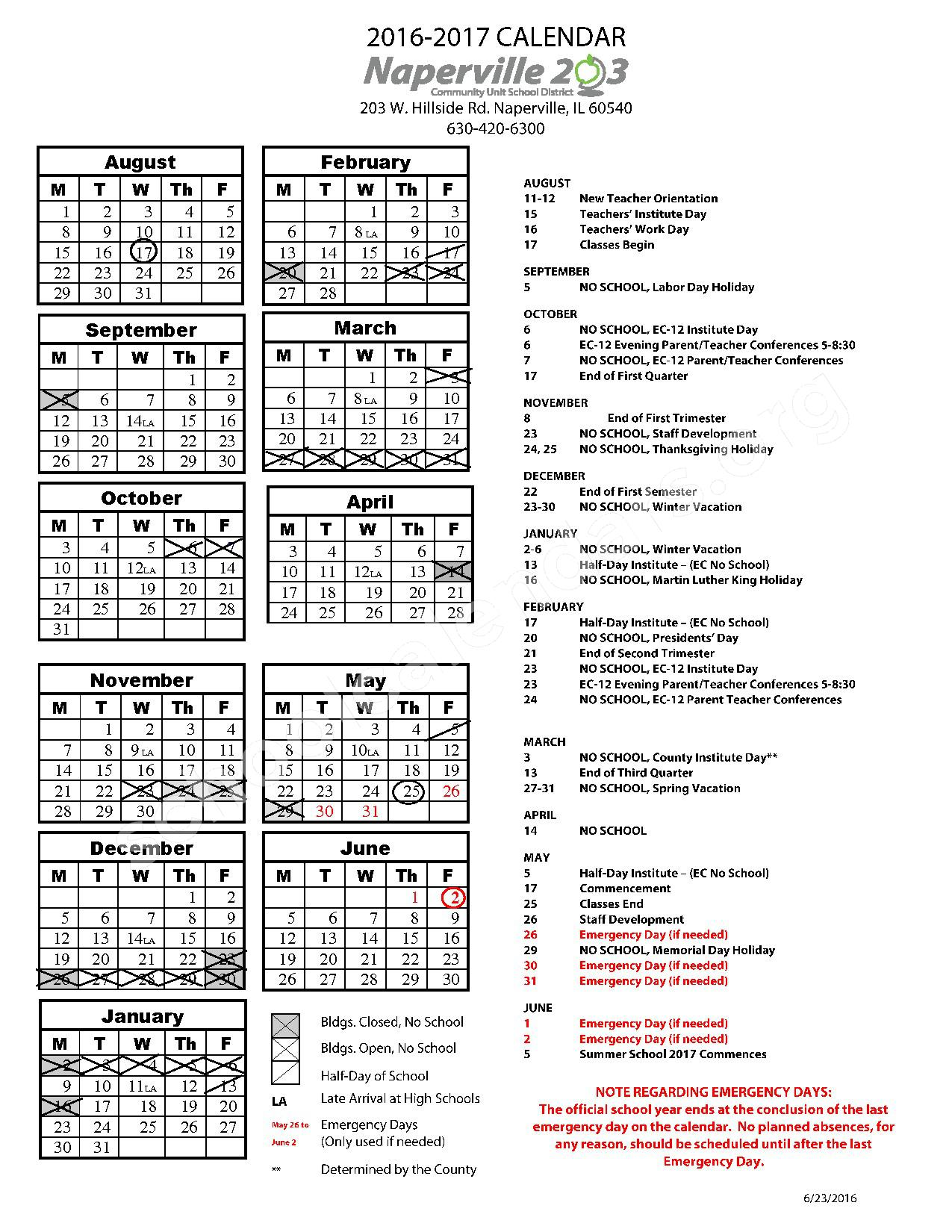 2016 - 2017 School Year Calendar – Maplebrook Elementary School – page 1