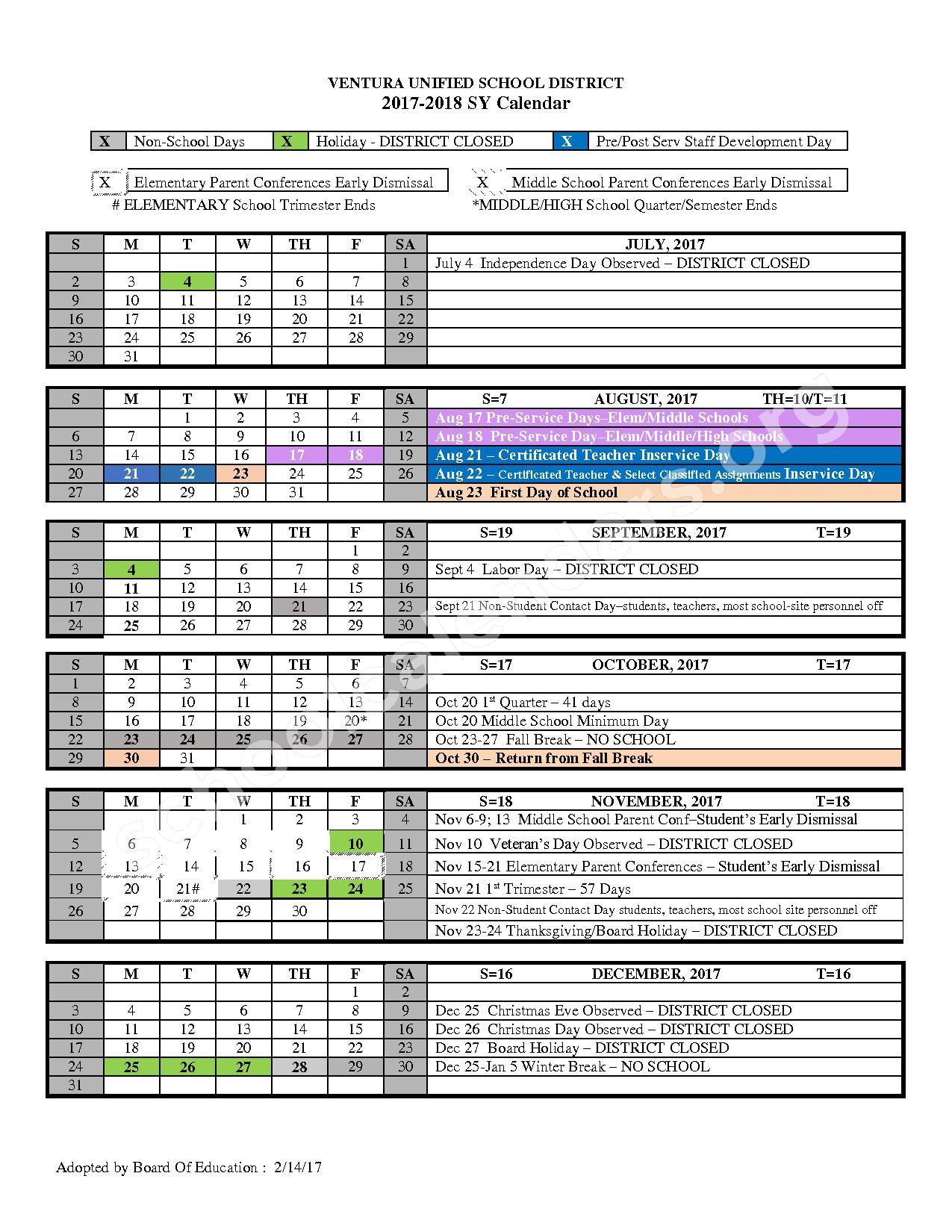 2017 - 2018 School Calendar – Ventura Unified School District – page 1