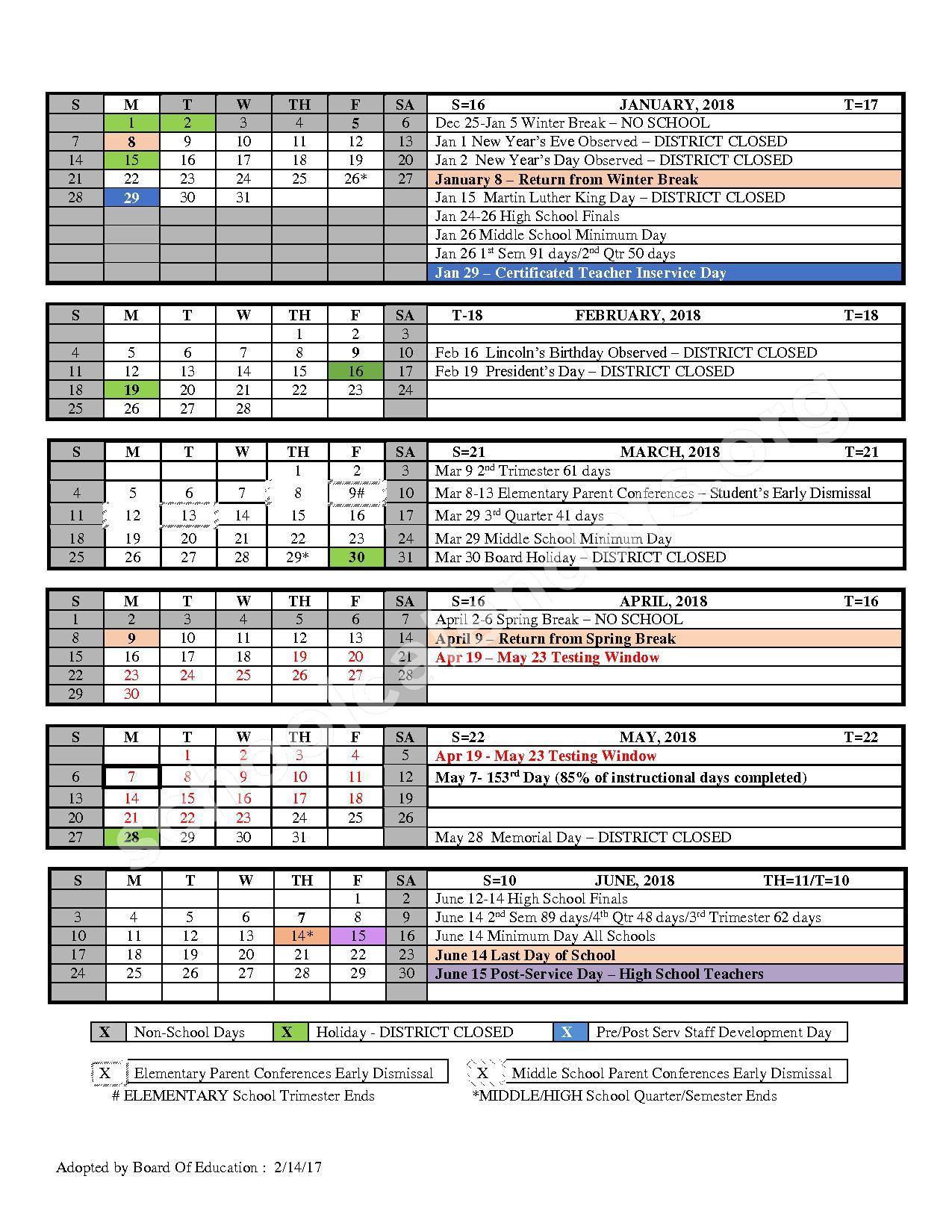 2017 - 2018 School Calendar – Ventura Unified School District – page 2