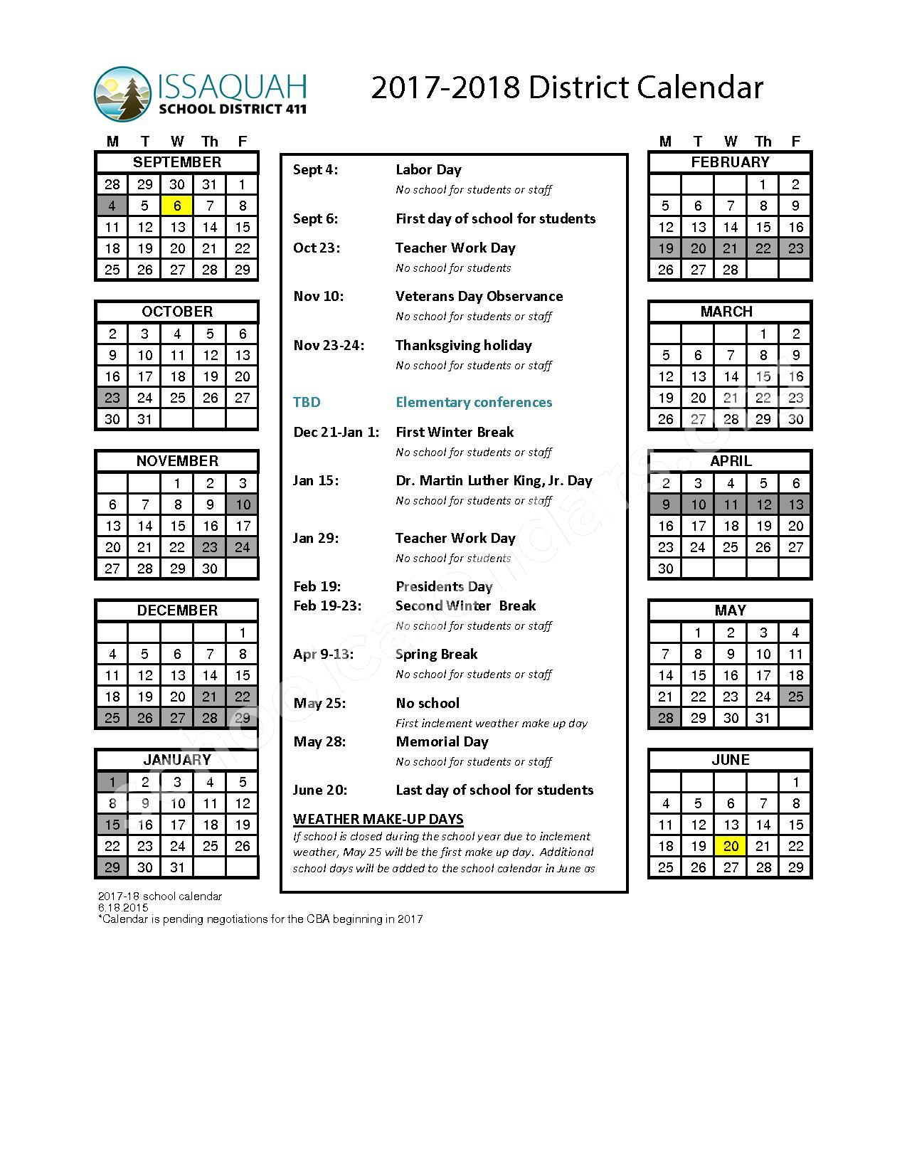2017 - 2018 District Calendar – Issaquah School District – page 1