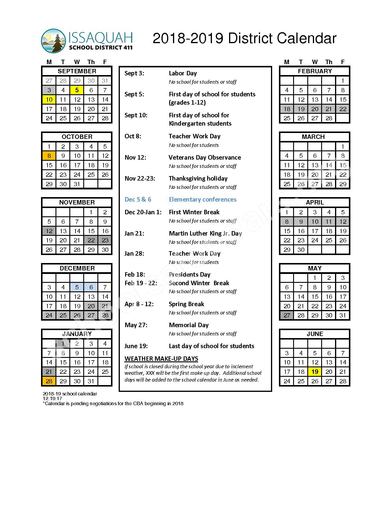 2018 - 2019 District Calendar – Issaquah School District – page 1