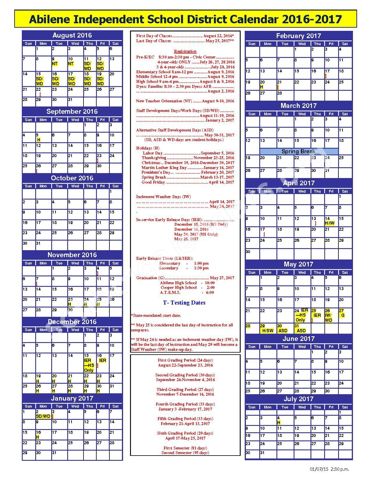 2016 - 2017 District Calendar – Abilene Independent School District – page 1