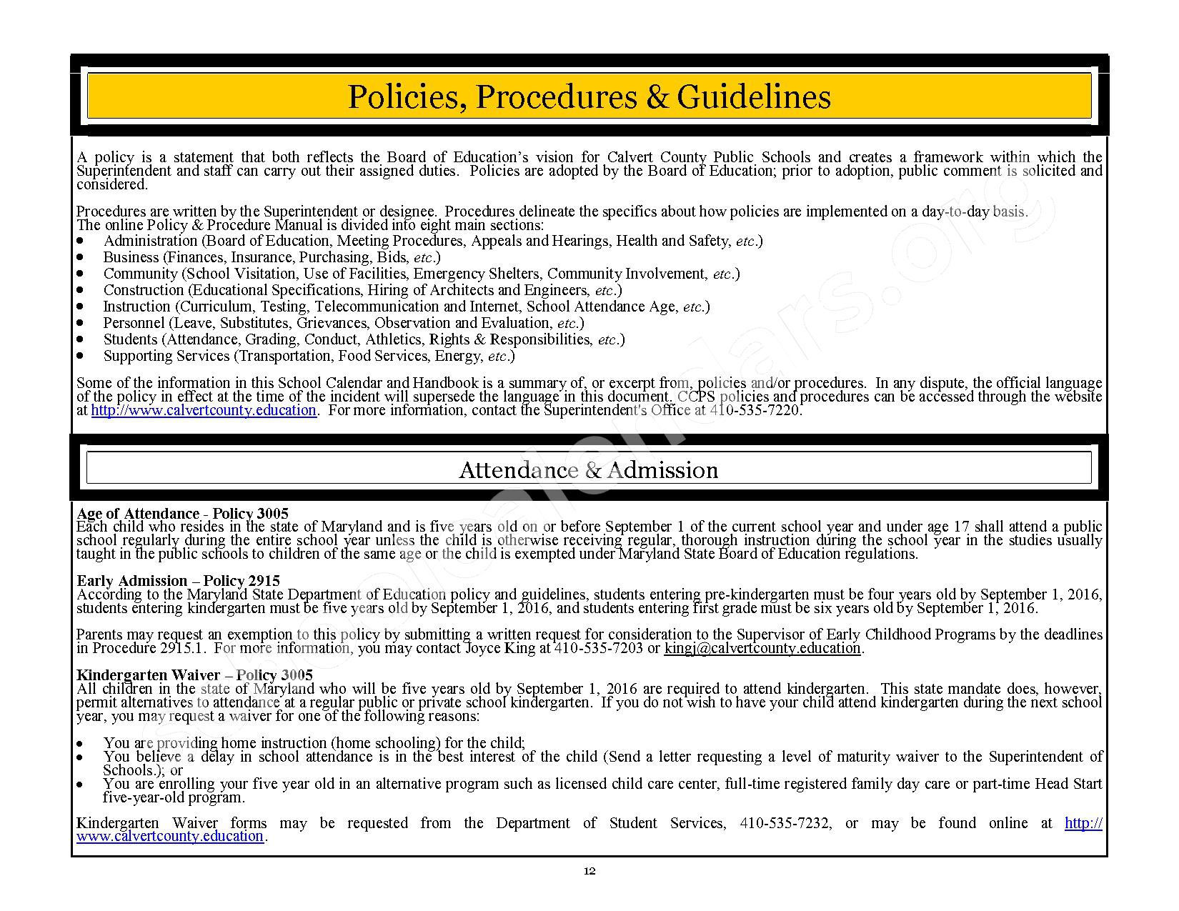 2016 - 2017 CCPS School Handbook – Plum Point Middle School – page 12